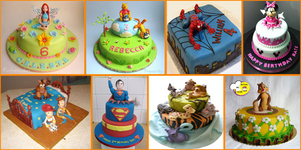 Foto di torte compleanno per bambini sui cartoni
