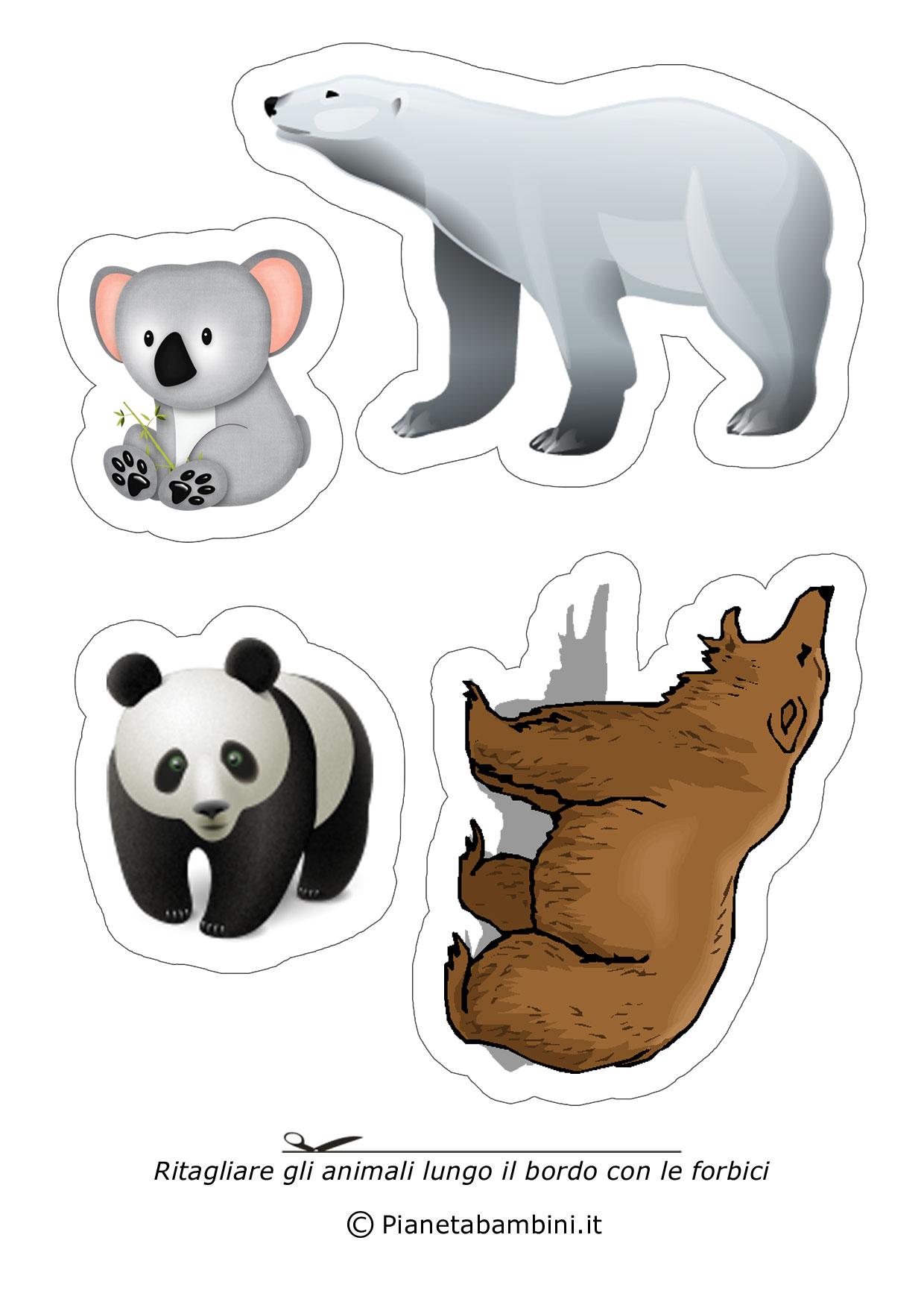 Disegni di animali da ritagliare e incollare per bambini - Animali terrestri per bambini ...