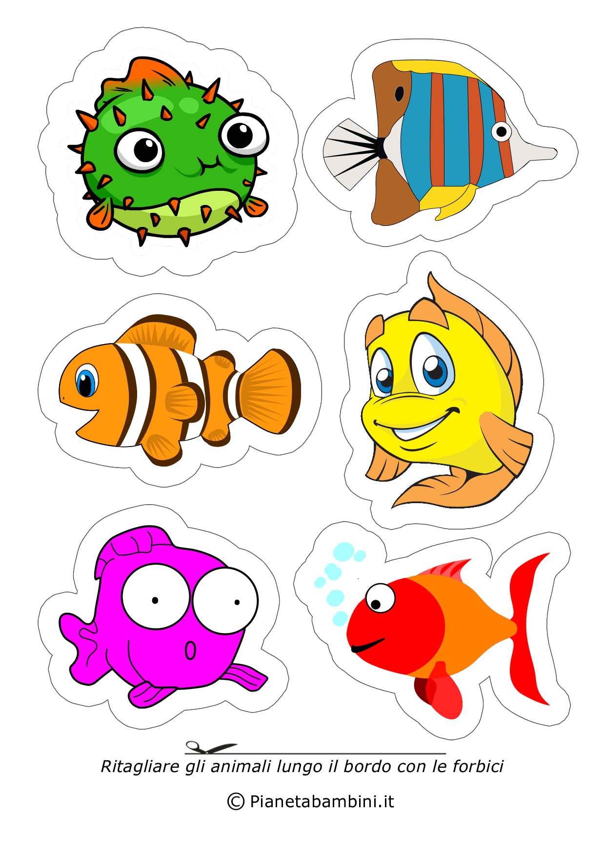 Disegni di animali da ritagliare e incollare per bambini for Pesciolini da colorare e stampare