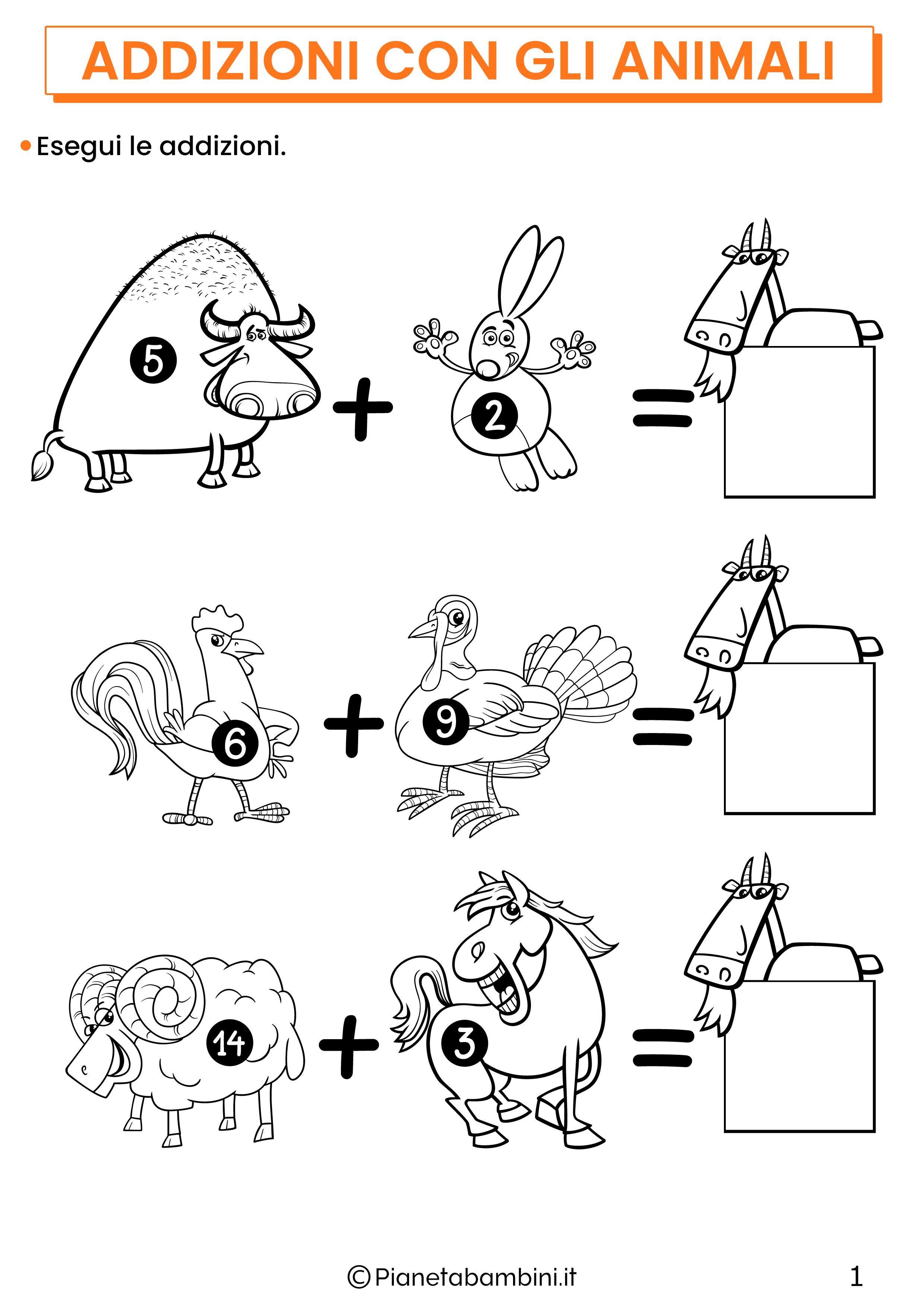 Addizioni con gli animali per la classe prima pagina 1