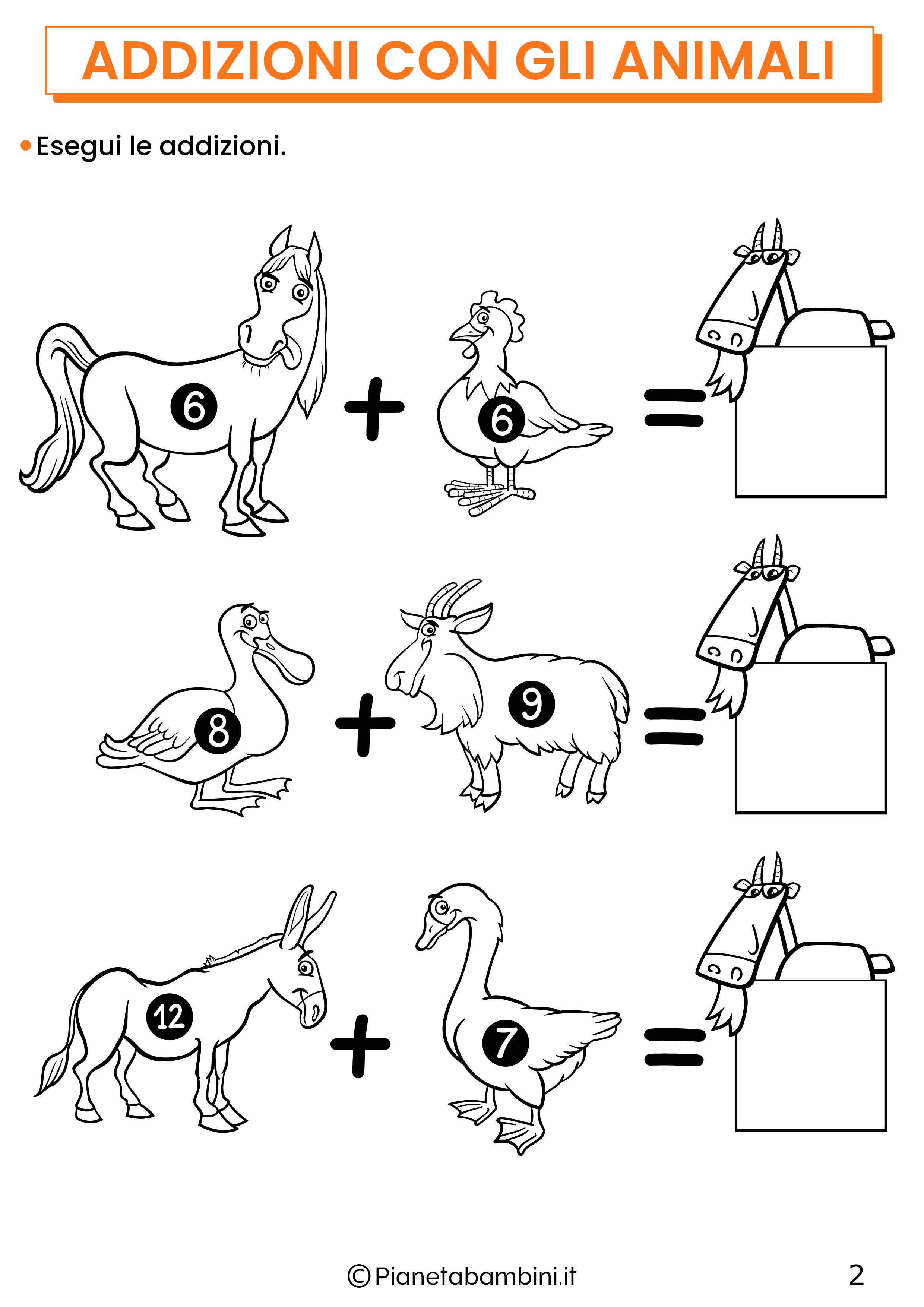 Addizioni con gli animali per la classe prima pagina 2