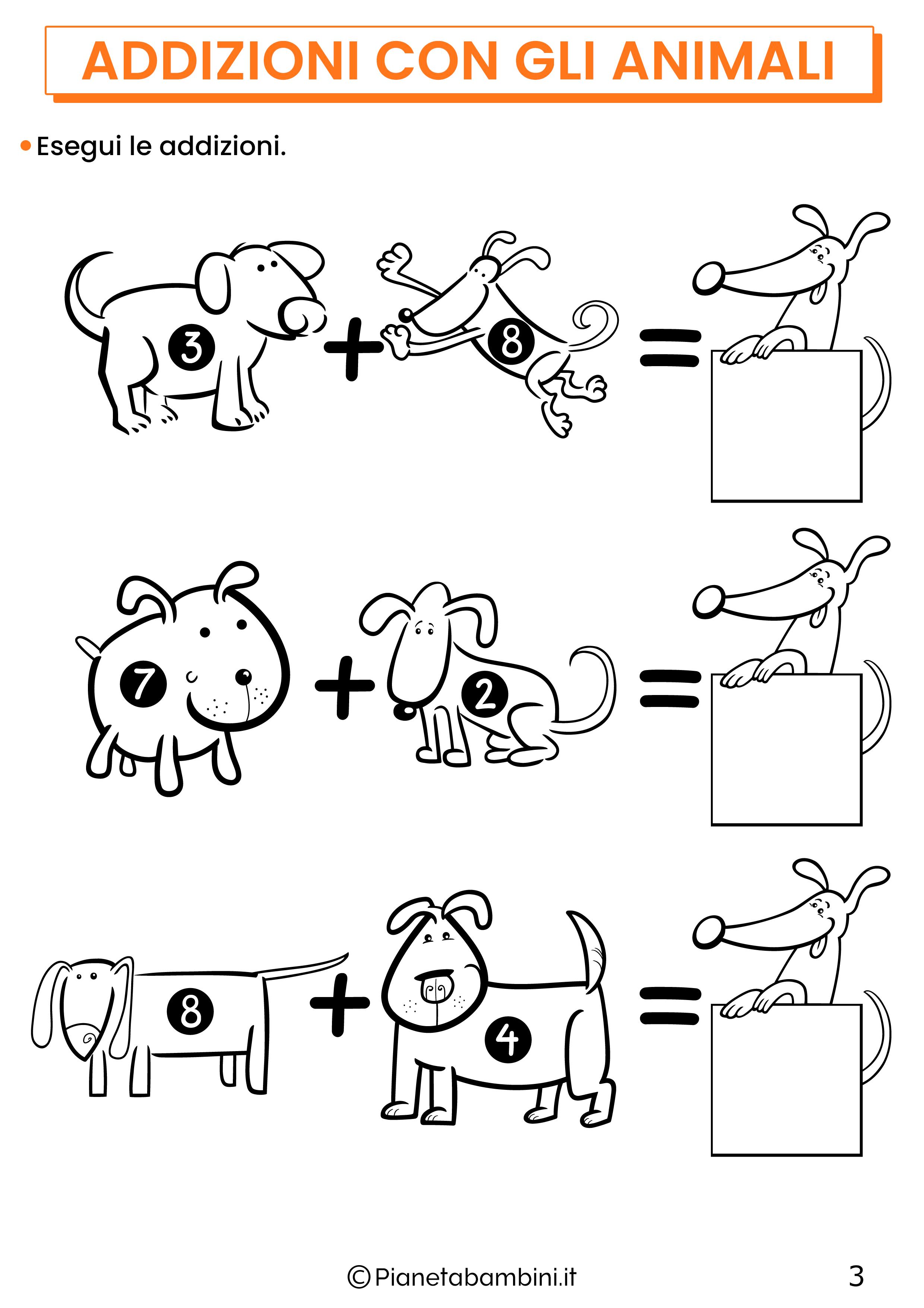 Addizioni con gli animali per la classe prima pagina 3