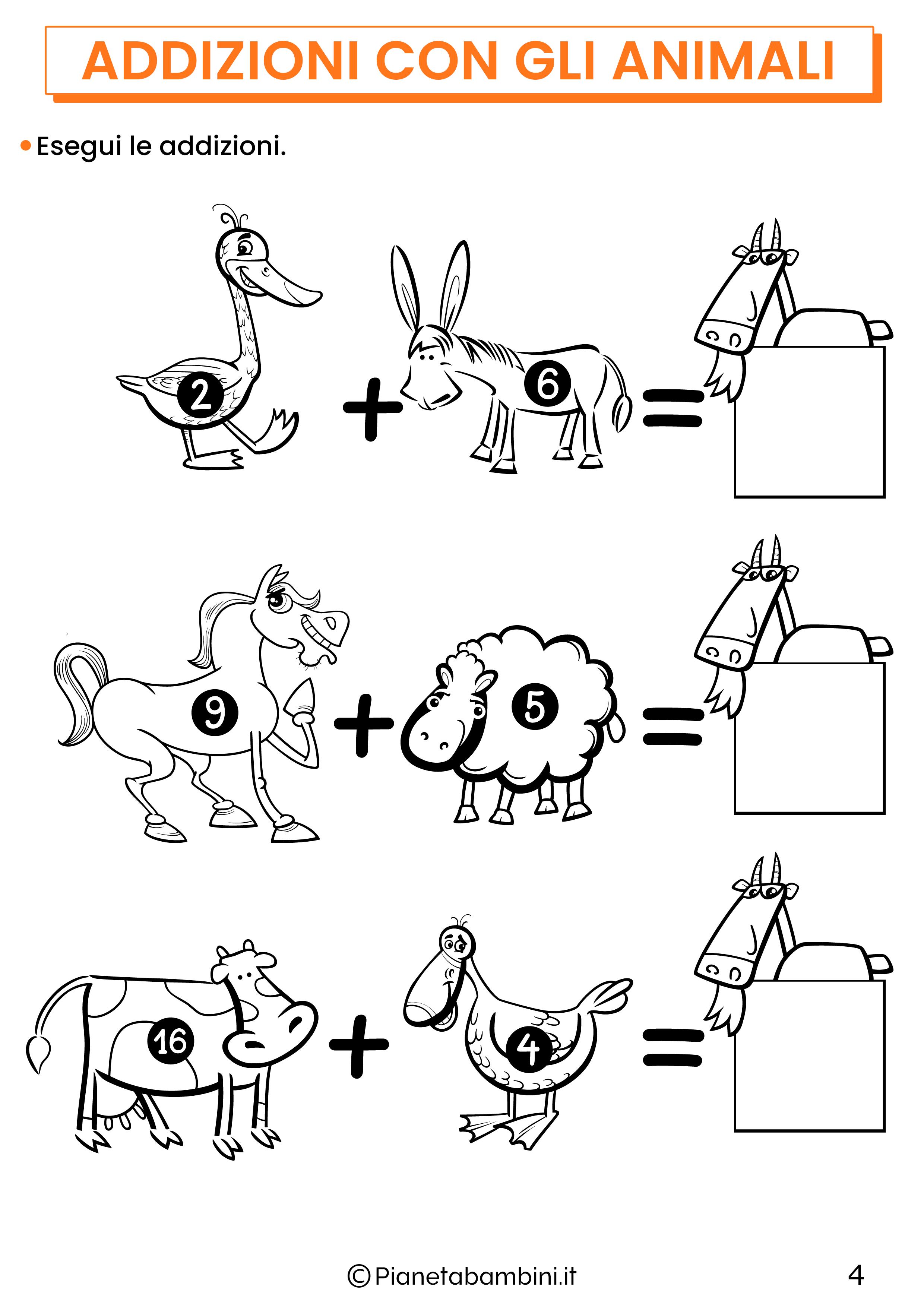 Addizioni con gli animali per la classe prima pagina 4
