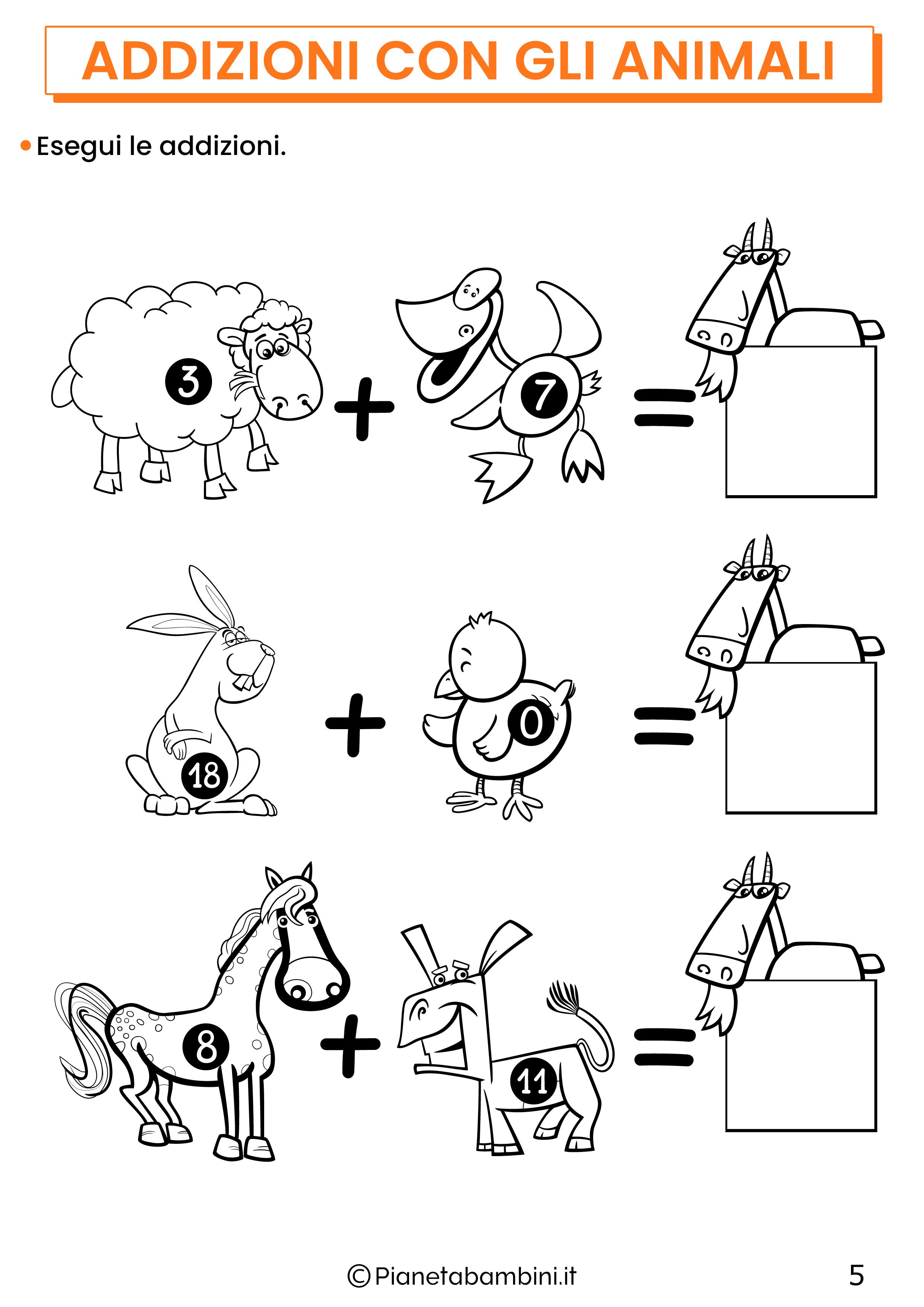 Addizioni con gli animali per la classe prima pagina 5