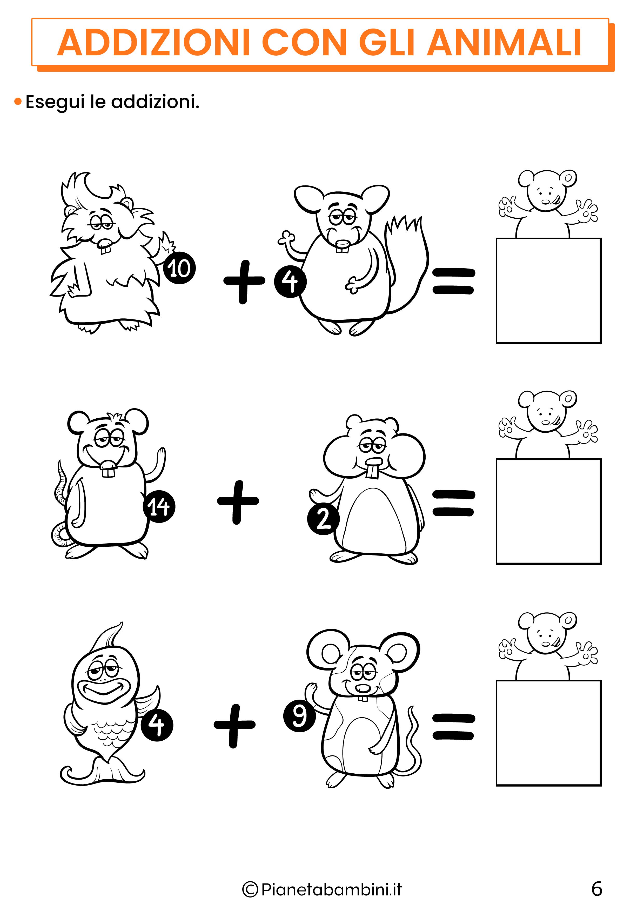 Addizioni con gli animali per la classe prima pagina 6