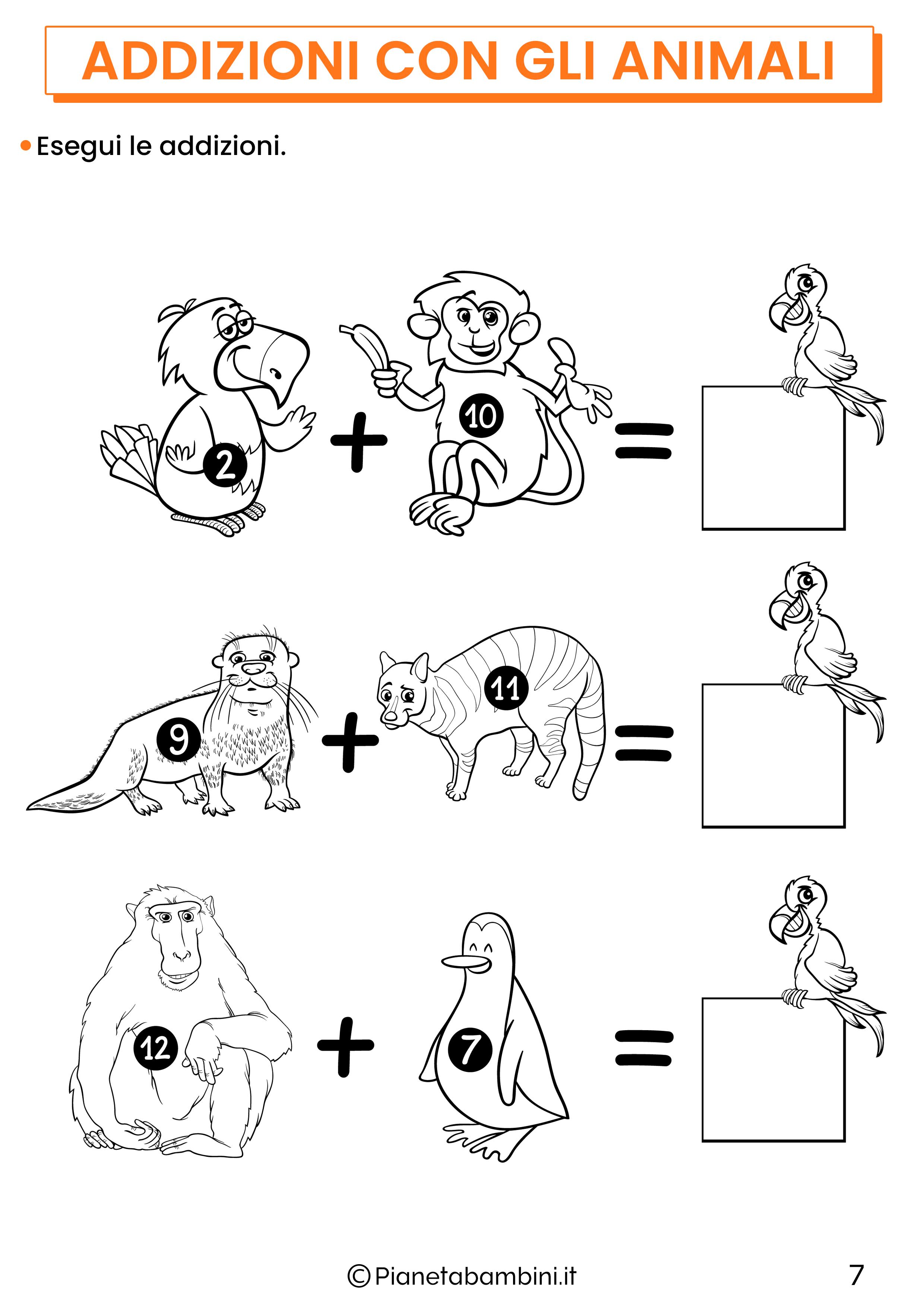 Addizioni con gli animali per la classe prima pagina 7