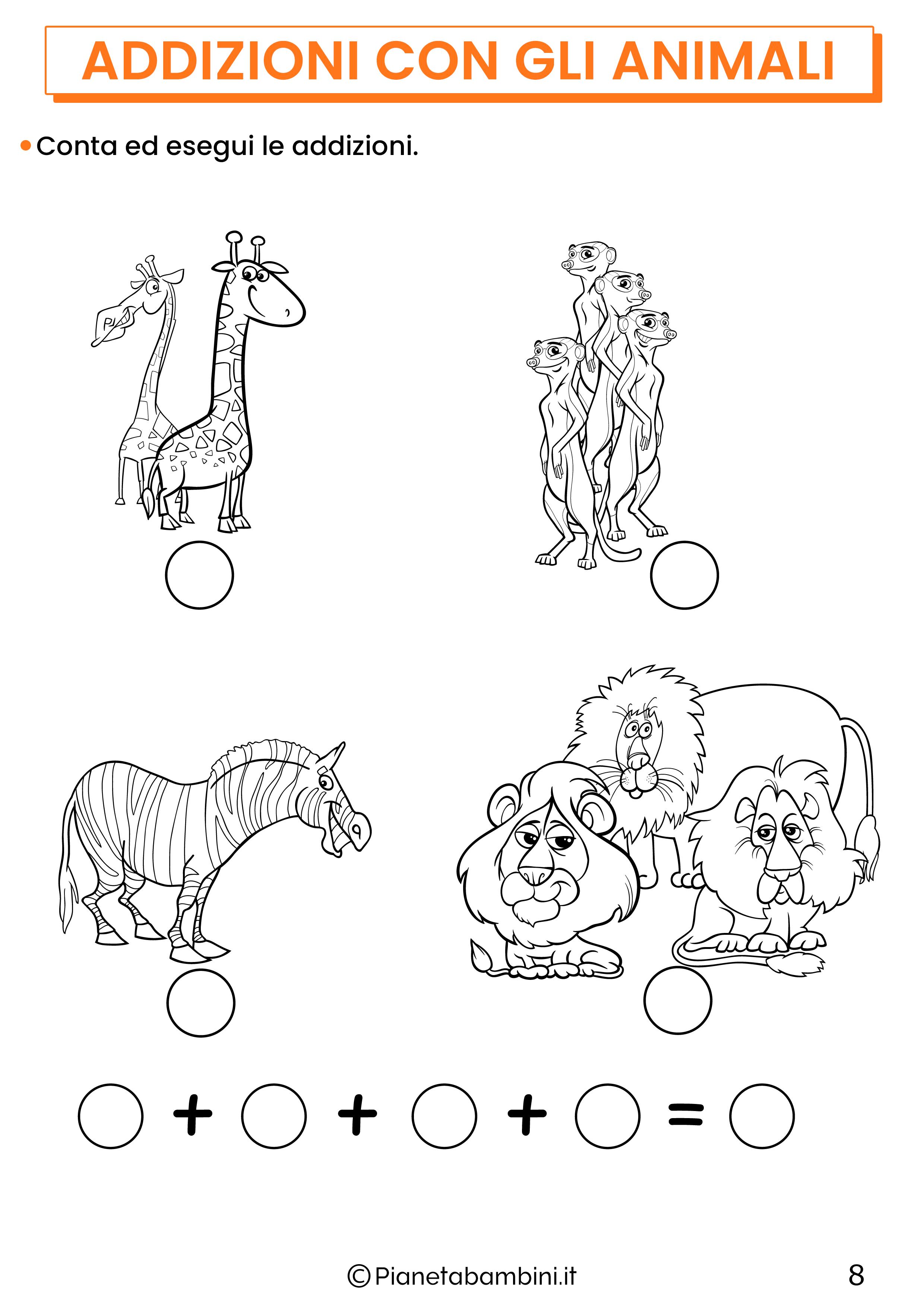 Addizioni con gli animali per la classe prima pagina 8