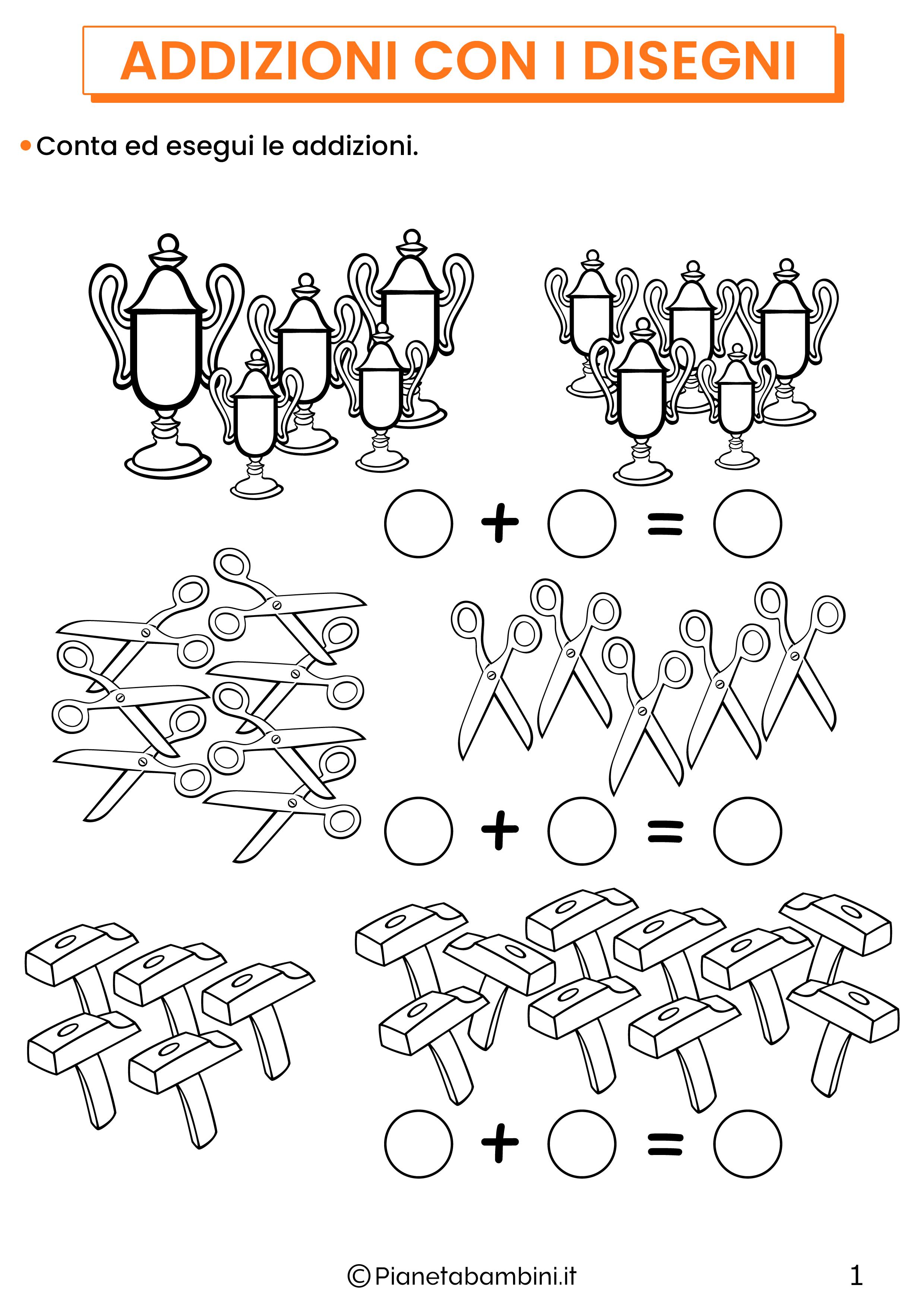 Addizioni con disegni per la classe prima pagina 1