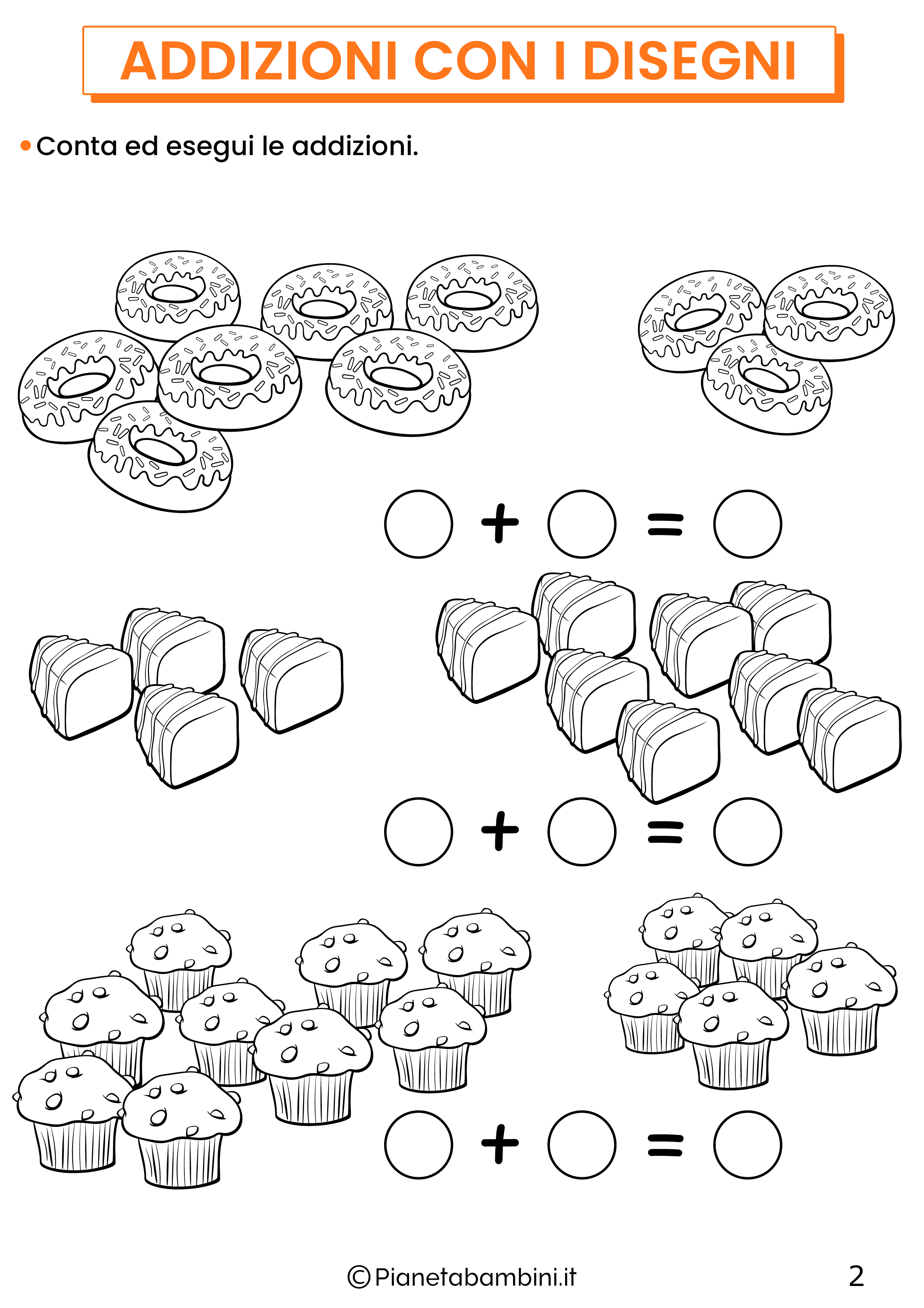 Addizioni con disegni per la classe prima pagina 2