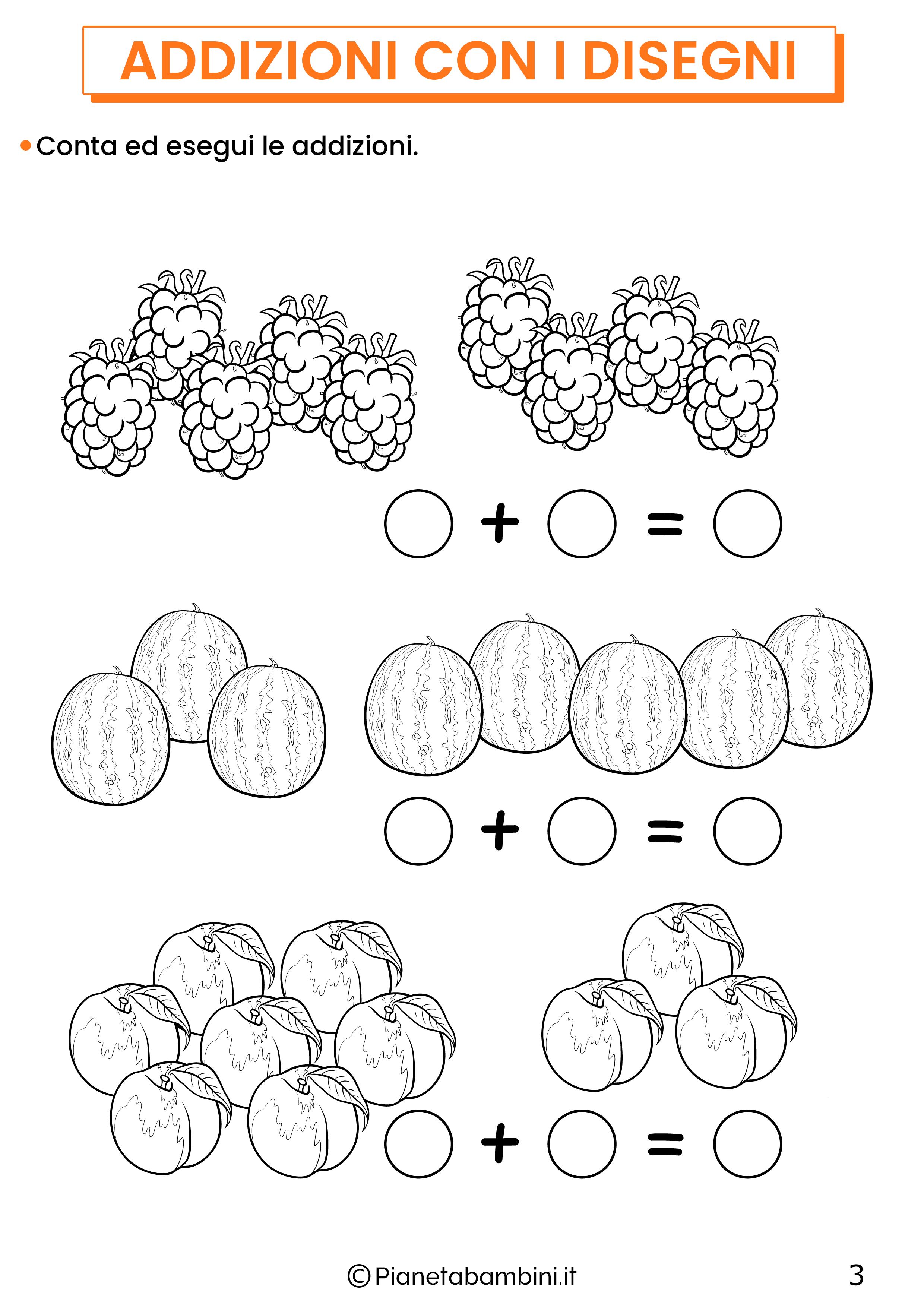 Addizioni con disegni per la classe prima pagina 3