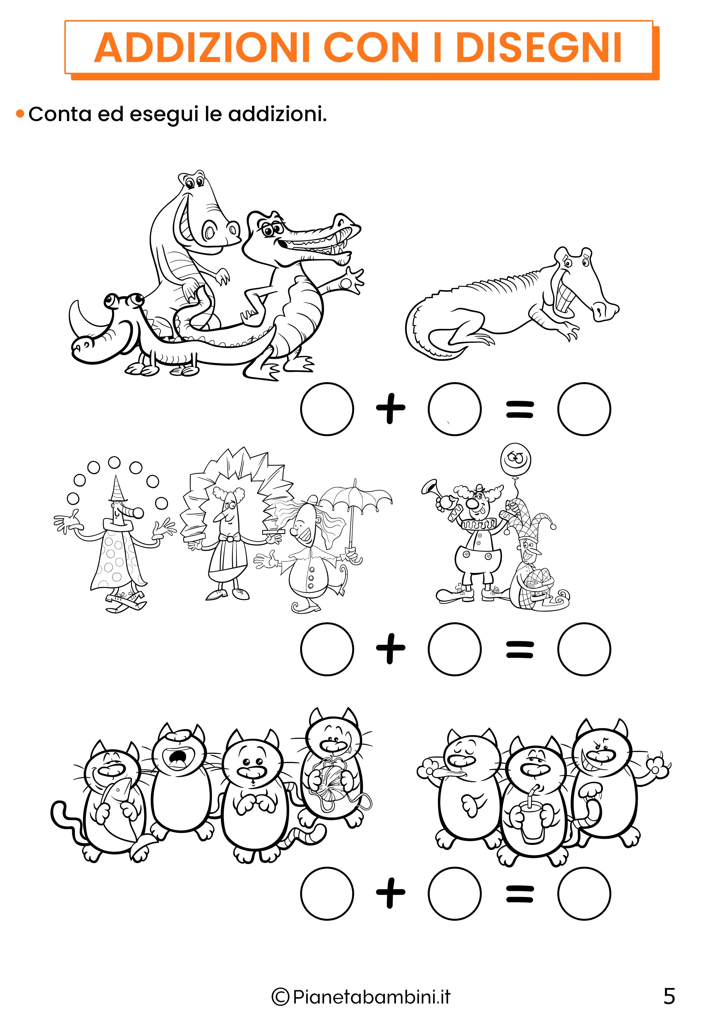 Addizioni con disegni per la classe prima pagina 5