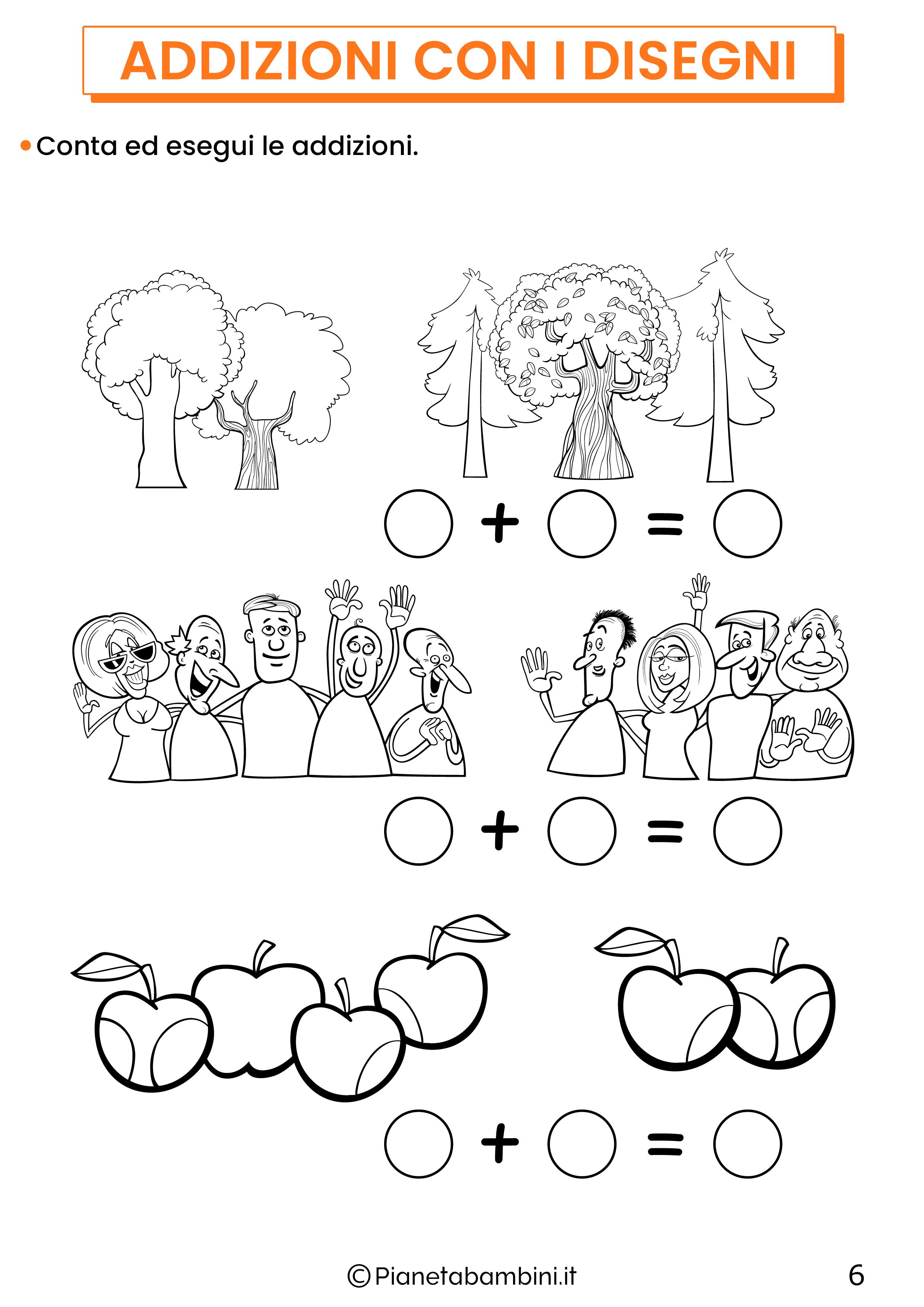 Addizioni con disegni per la classe prima pagina 6