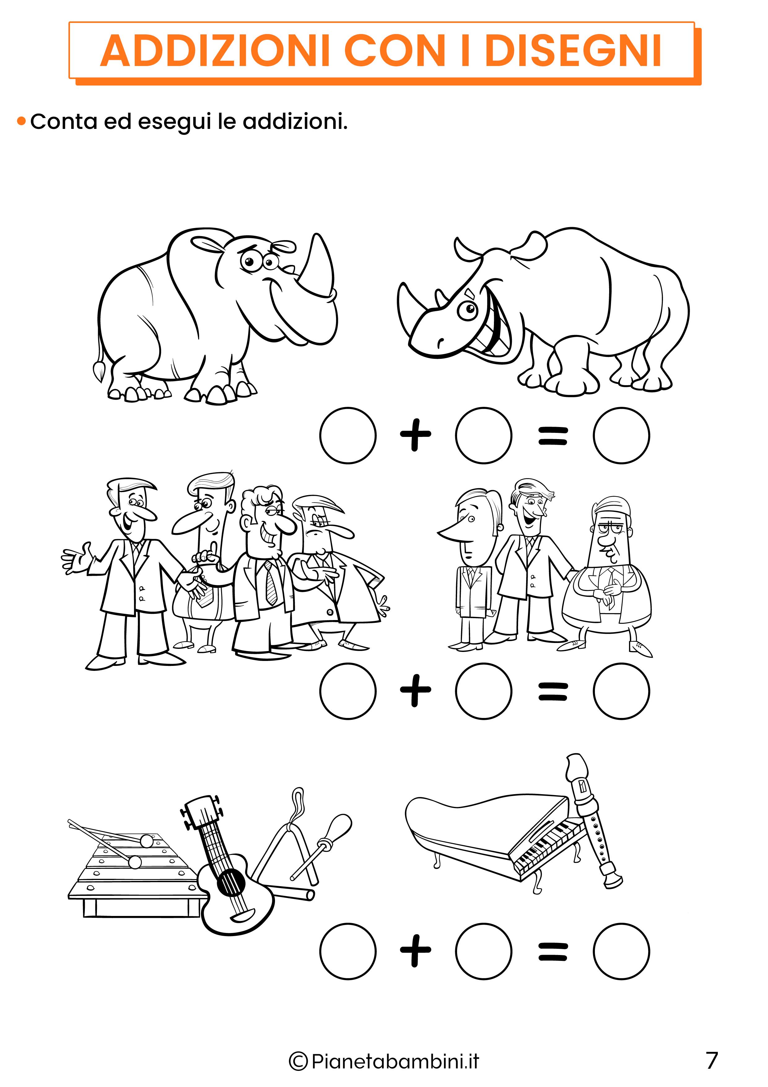 Addizioni con disegni per la classe prima pagina 7
