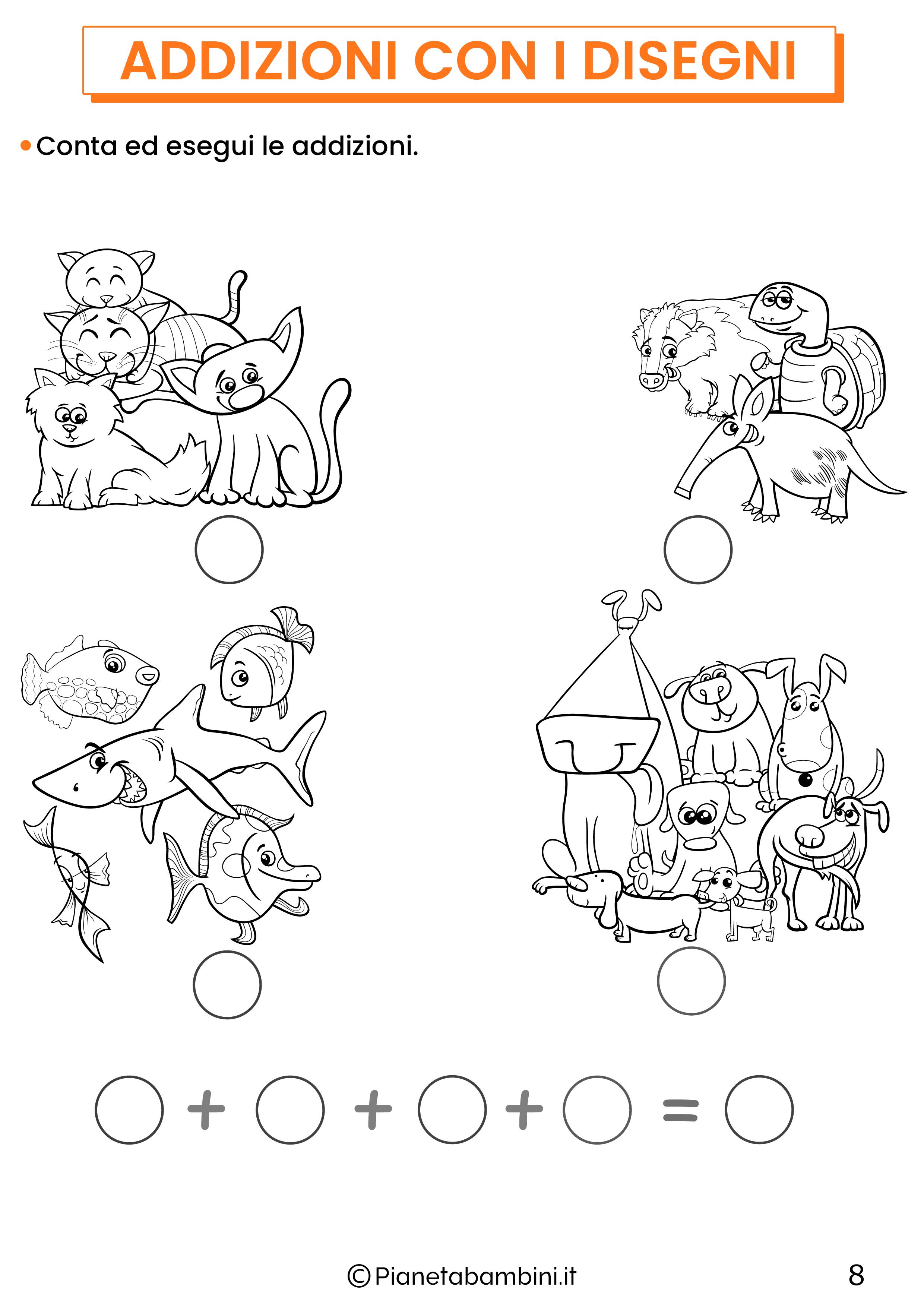 Addizioni con disegni per la classe prima pagina 8
