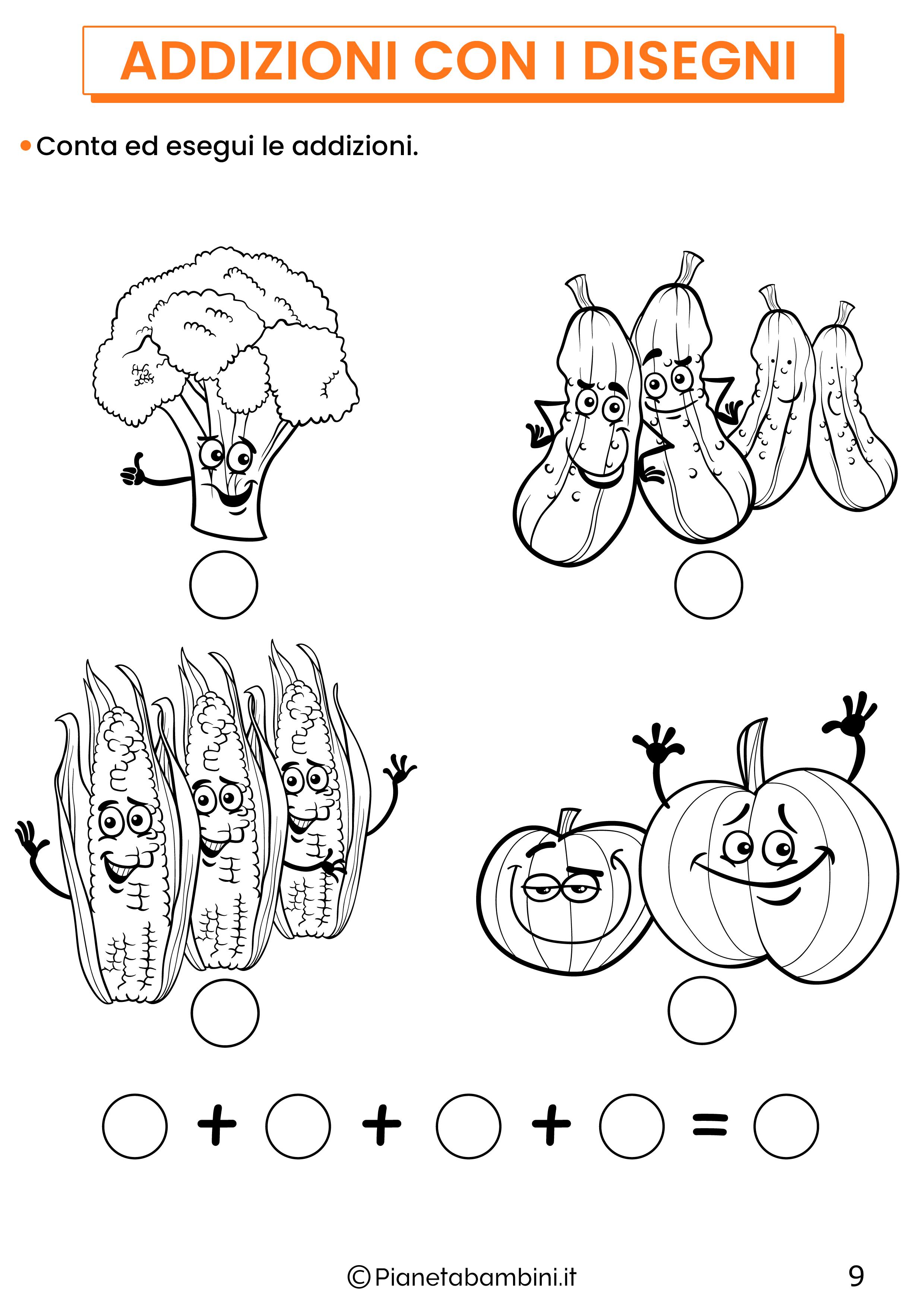 Addizioni con disegni per la classe prima pagina 9