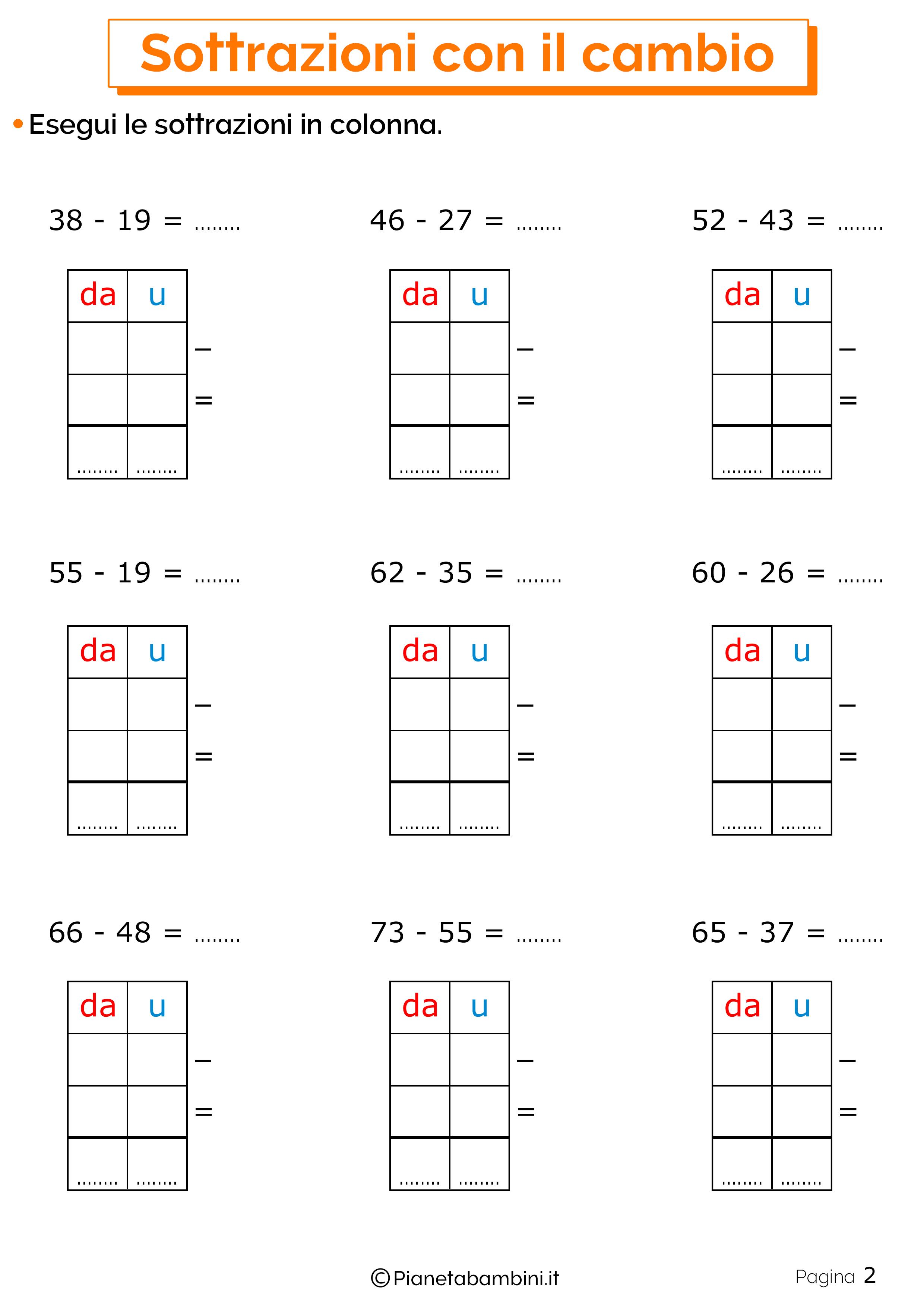 Schede didattiche sulle sottrazioni con cambio 2