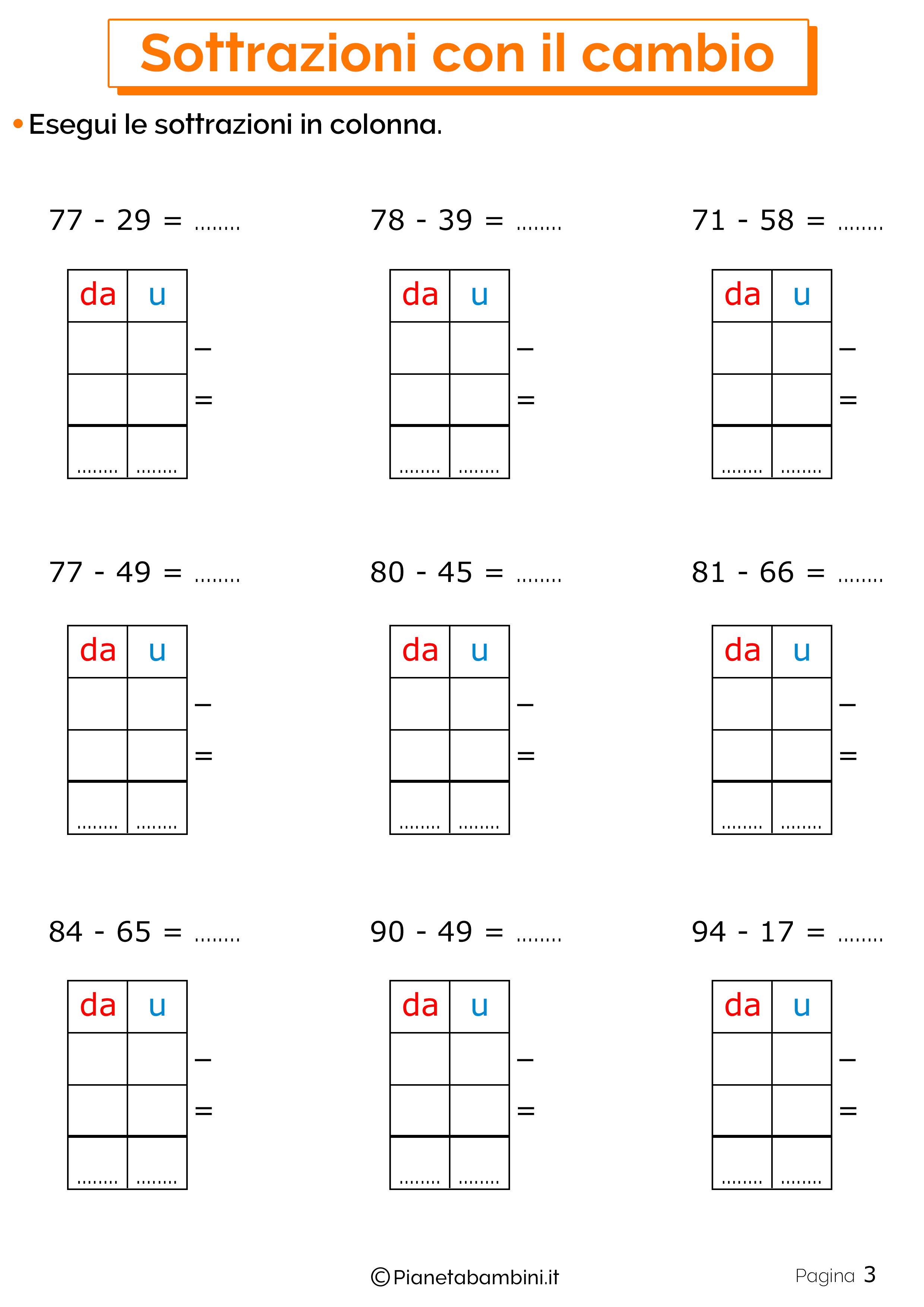 Schede didattiche sulle sottrazioni con cambio 3