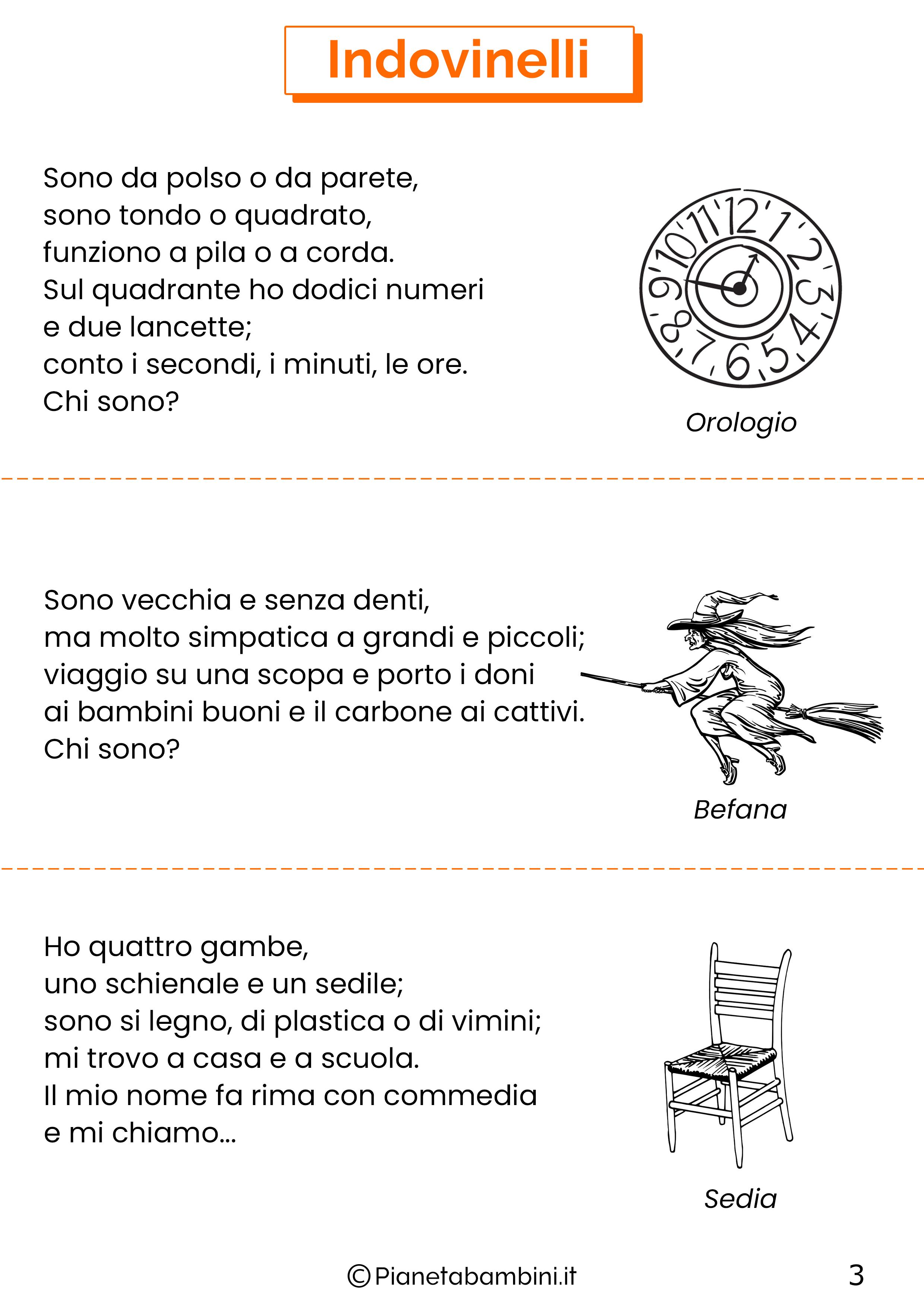 Indovinelli per bambini di 4-5-6 anni pagina 3