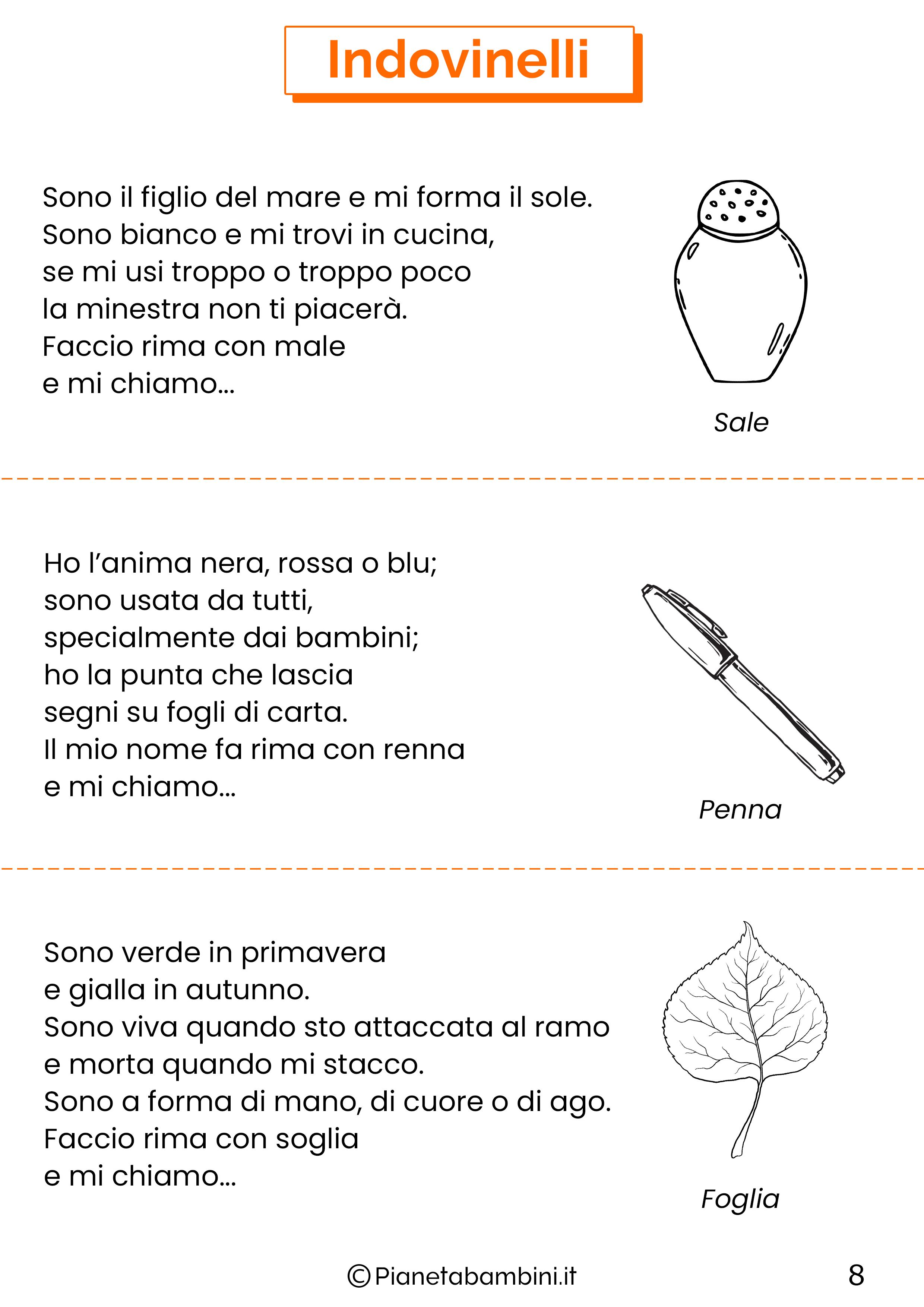 Indovinelli per bambini di 4-5-6 anni pagina 8