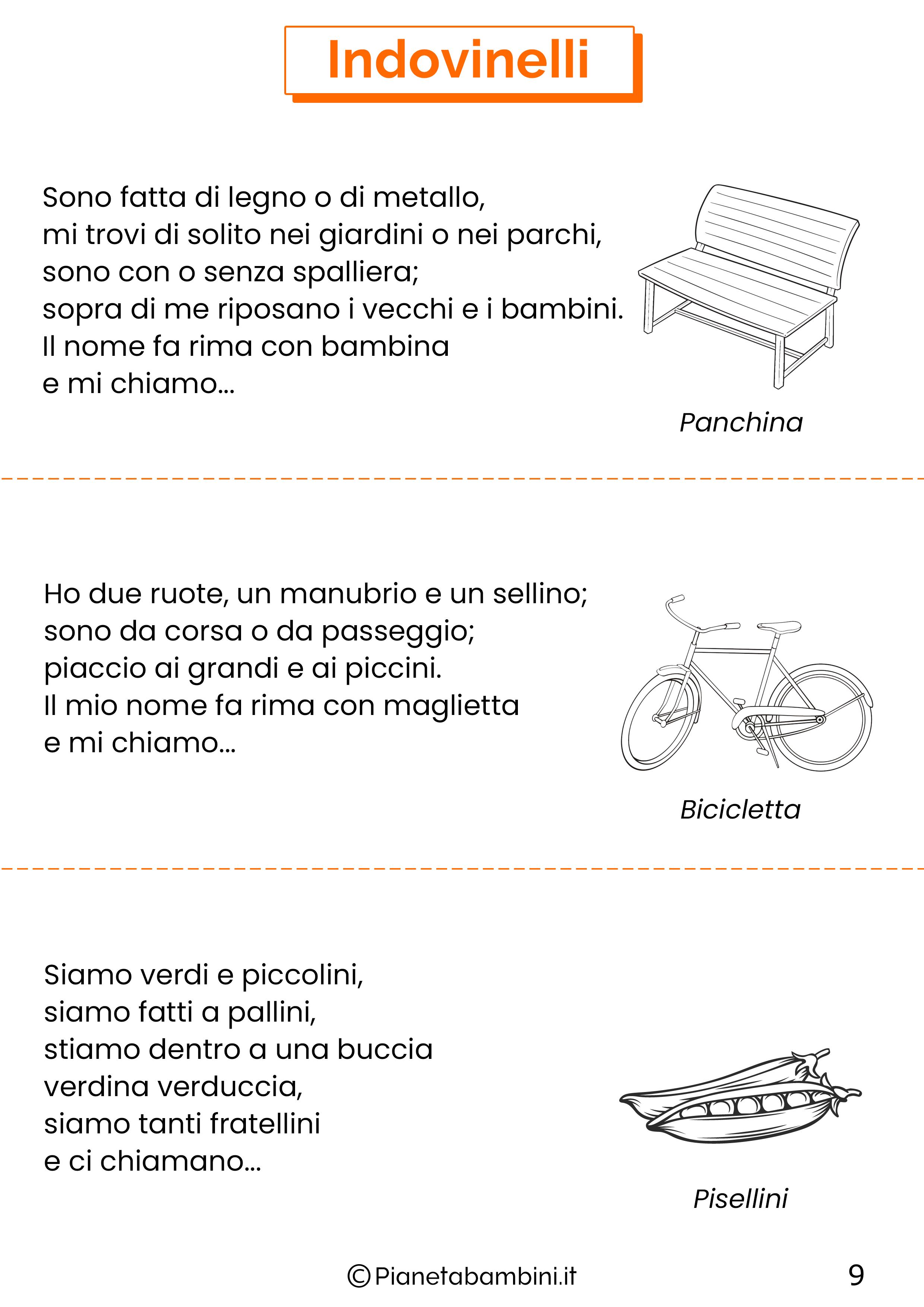 Indovinelli per bambini di 4-5-6 anni pagina 9