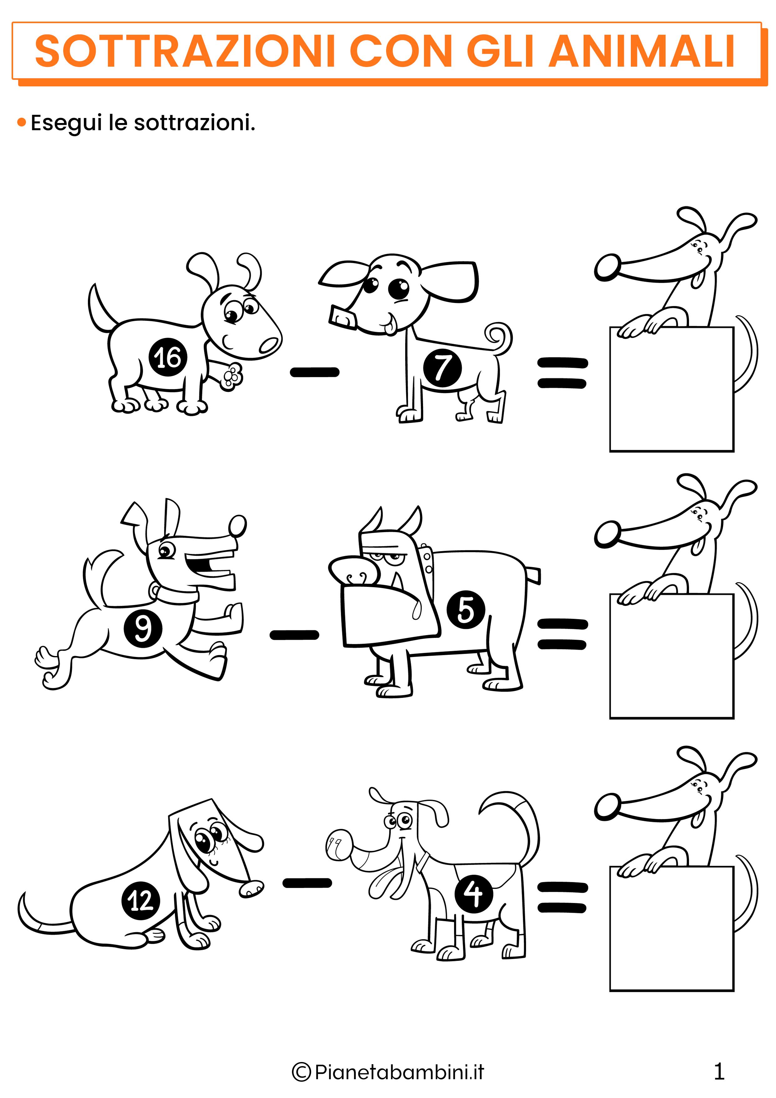 Sottrazioni con gli animali per la classe prima pagina 1