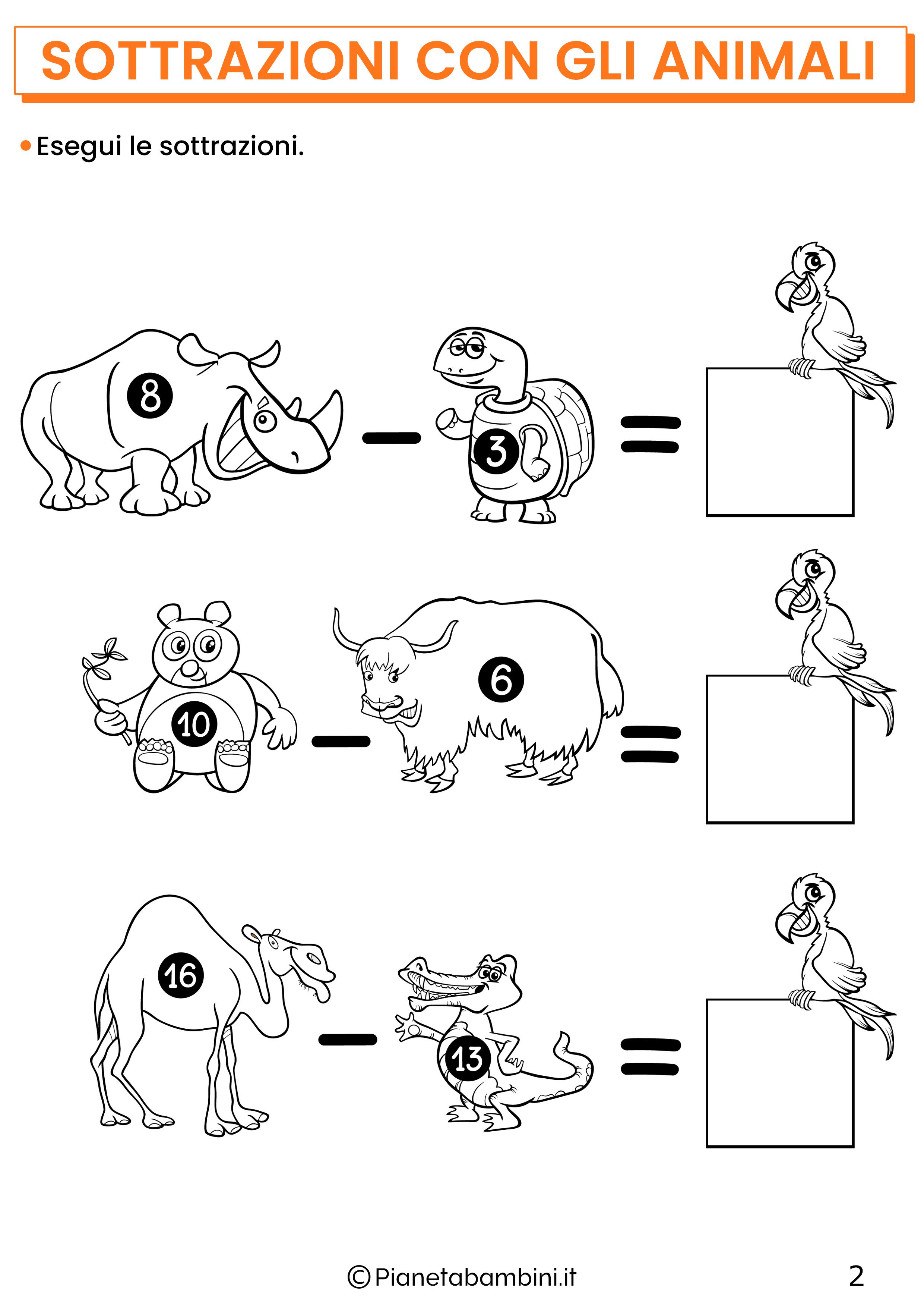 Sottrazioni con gli animali per la classe prima pagina 2