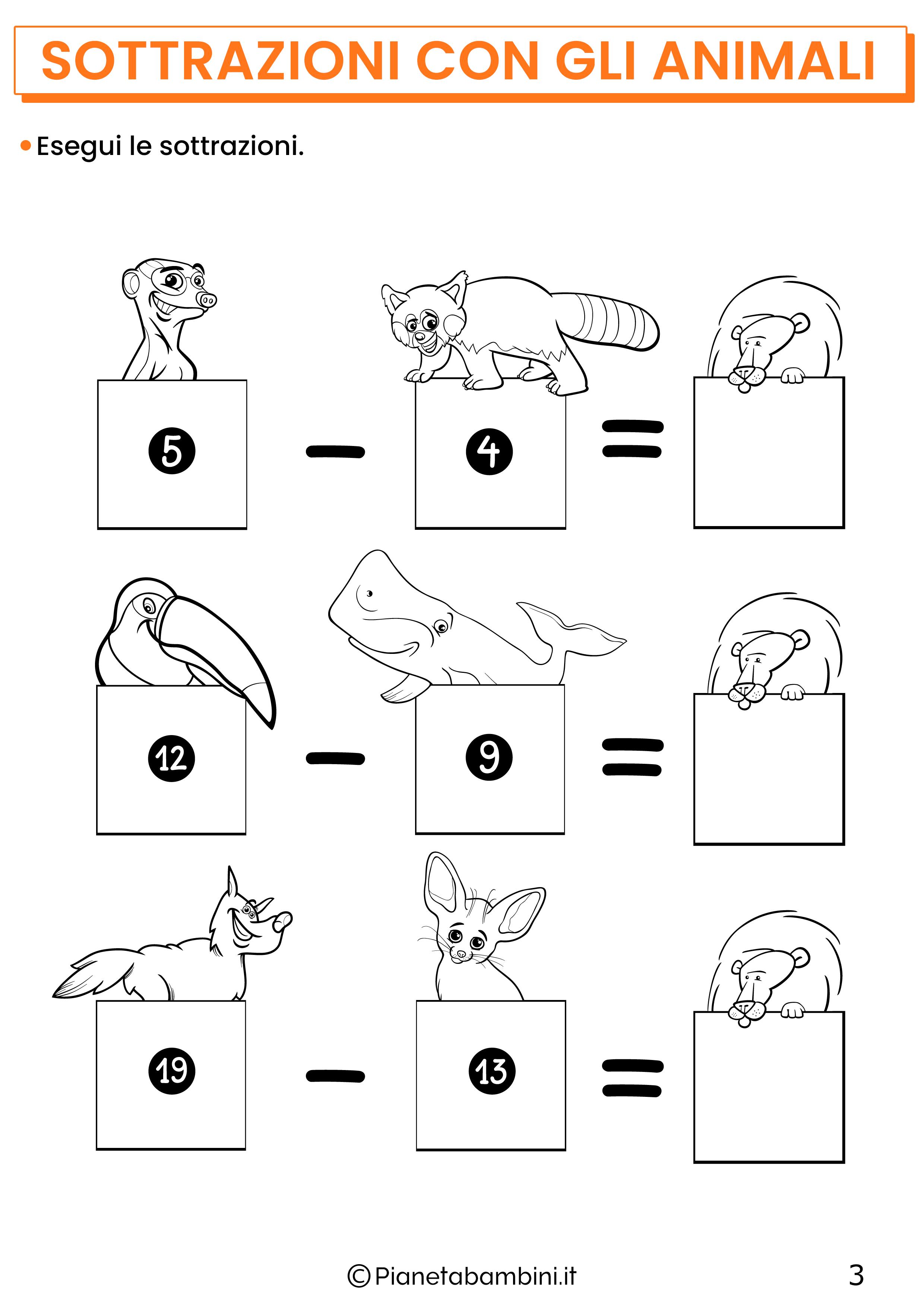 Sottrazioni con gli animali per la classe prima pagina 3