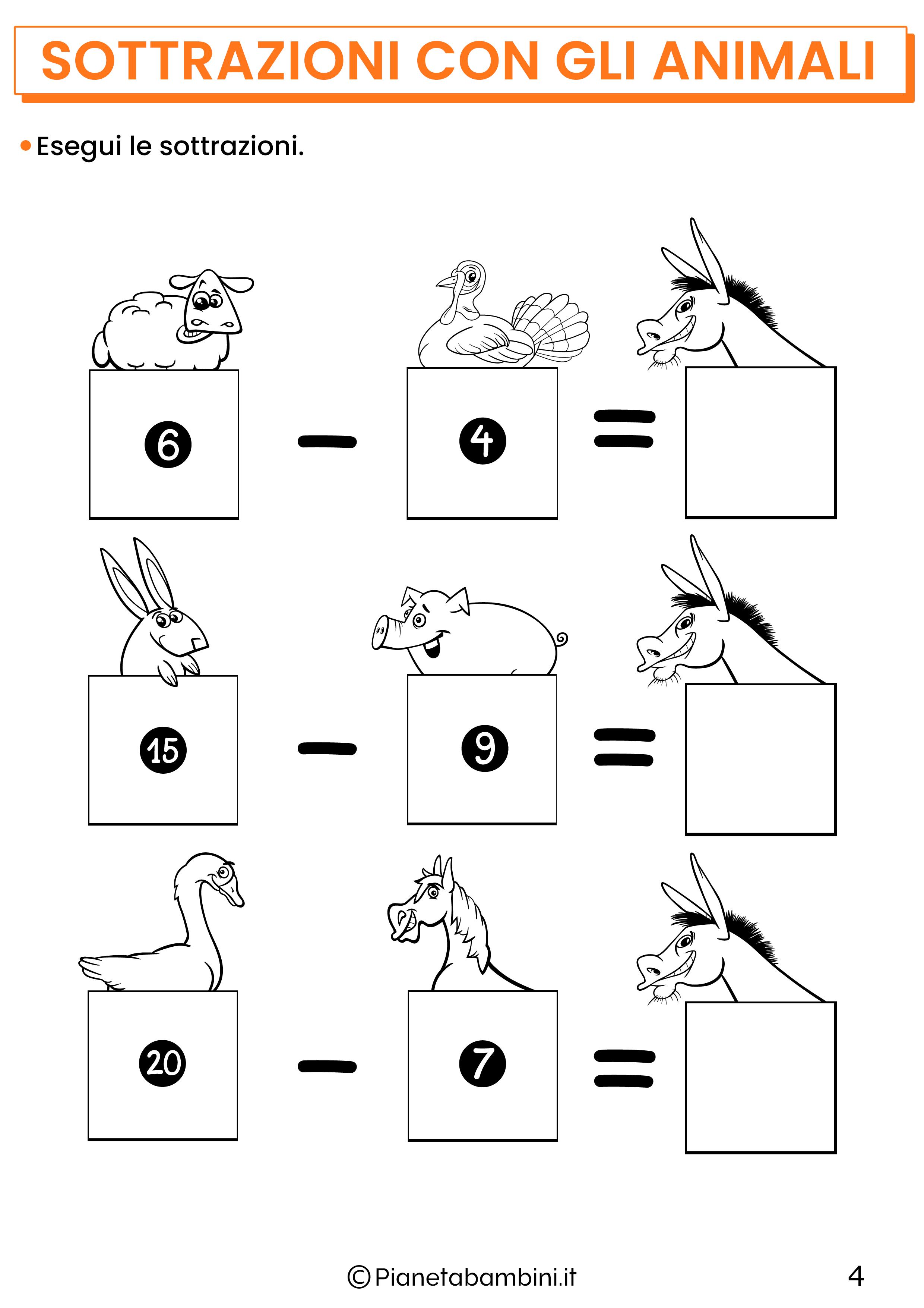 Sottrazioni con gli animali per la classe prima pagina 4