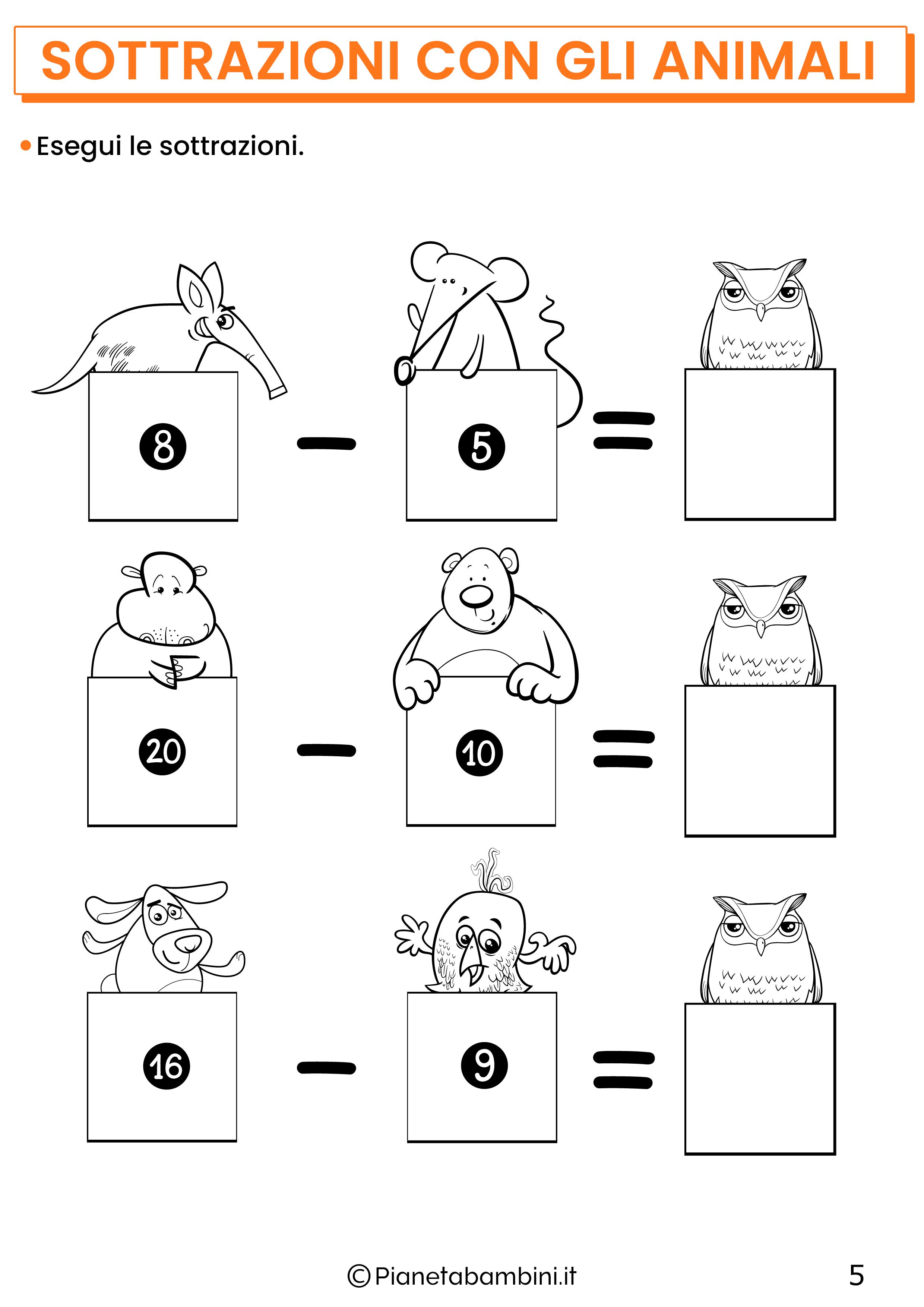 Sottrazioni con gli animali per la classe prima pagina 5