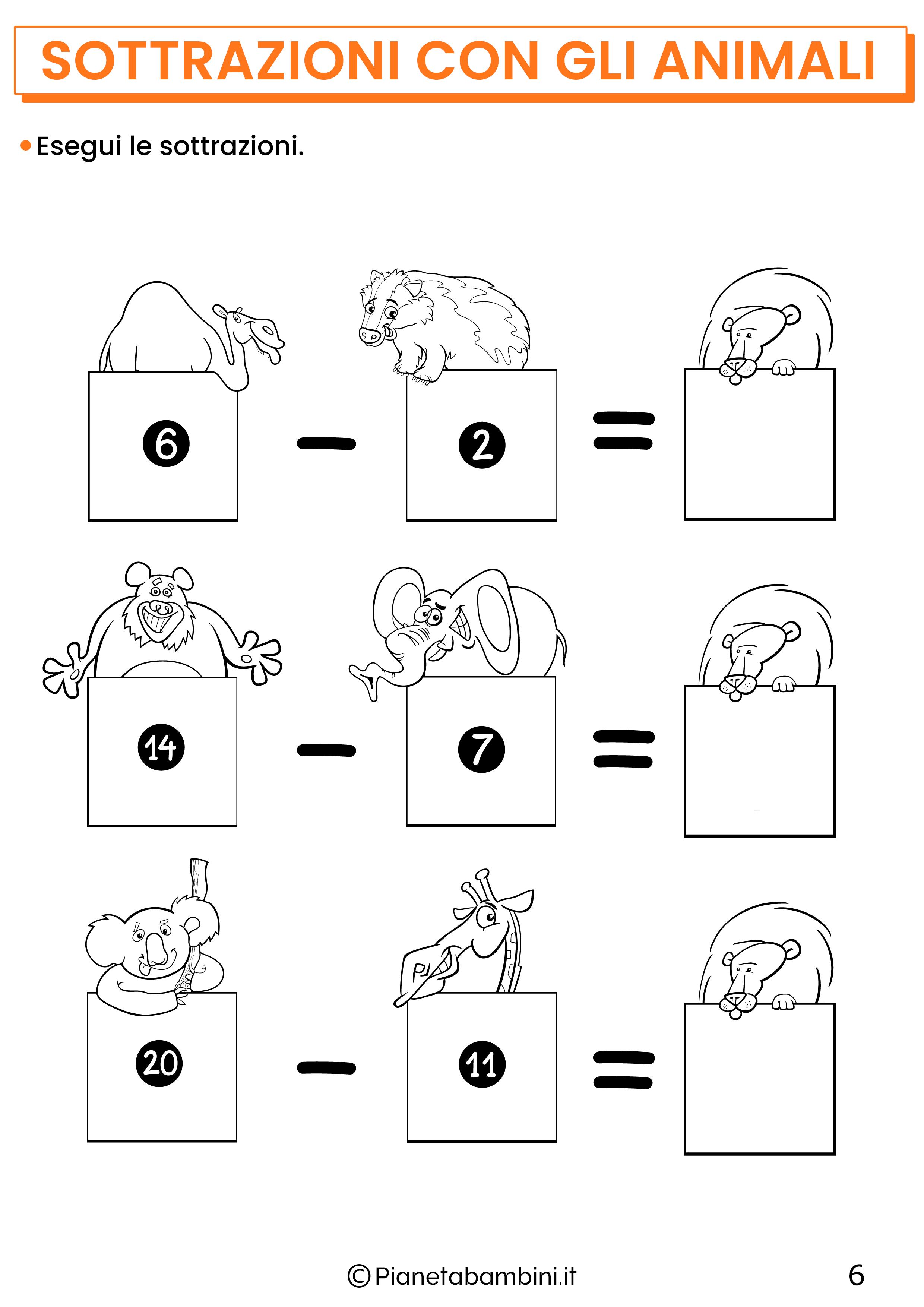 Sottrazioni con gli animali per la classe prima pagina 6