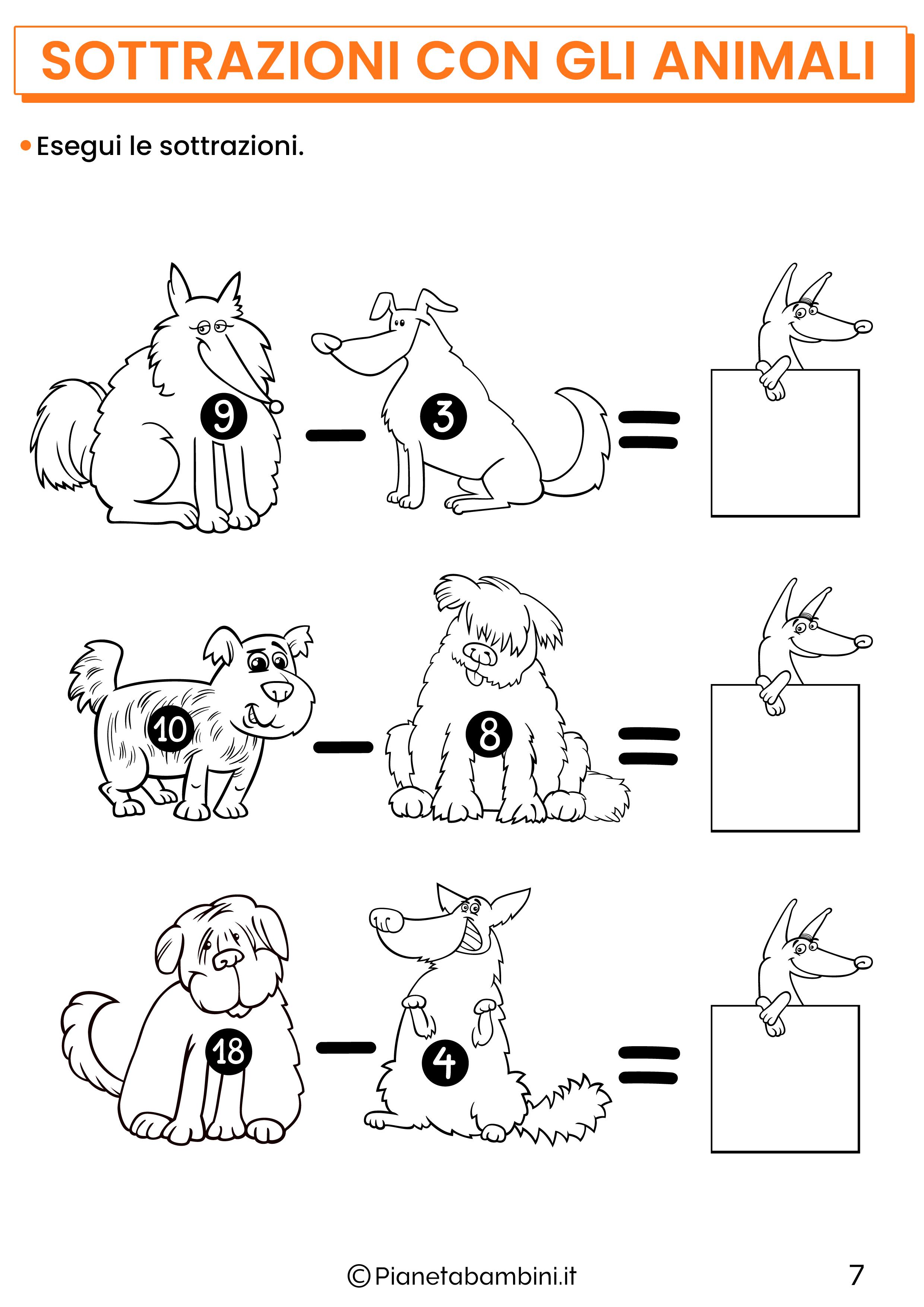 Sottrazioni con gli animali per la classe prima pagina 7