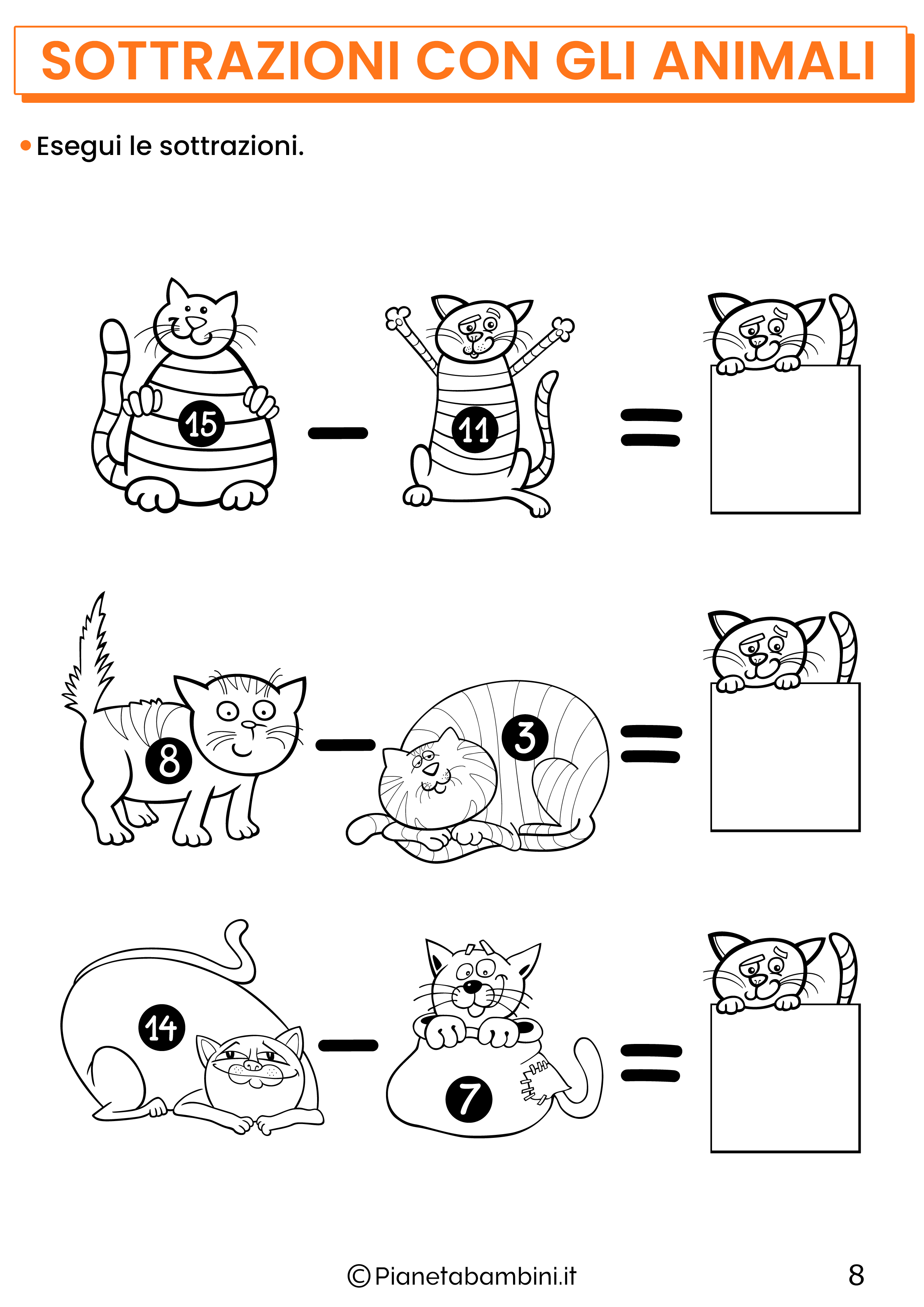 Sottrazioni con gli animali per la classe prima pagina 8