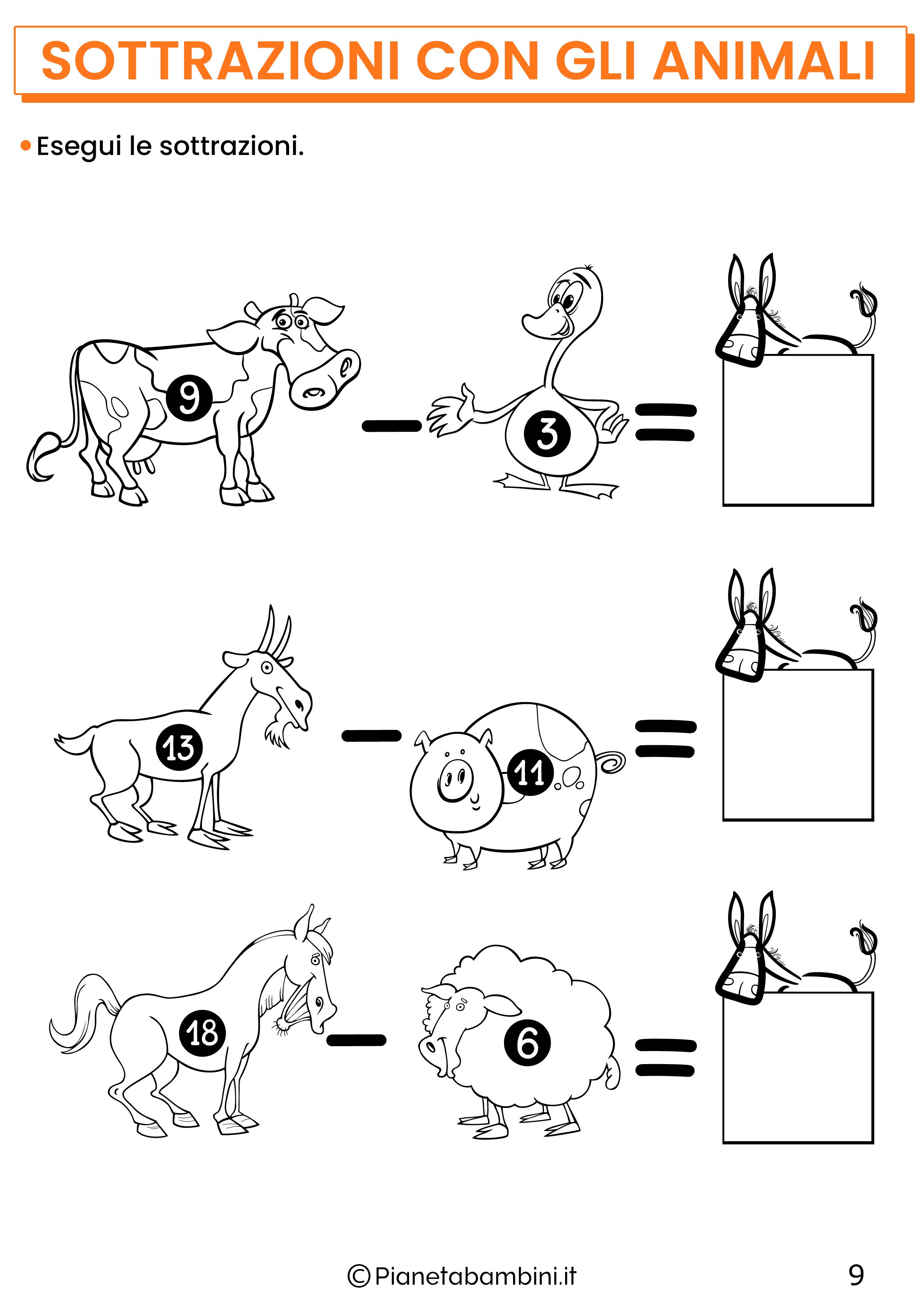 Sottrazioni con gli animali per la classe prima pagina 9
