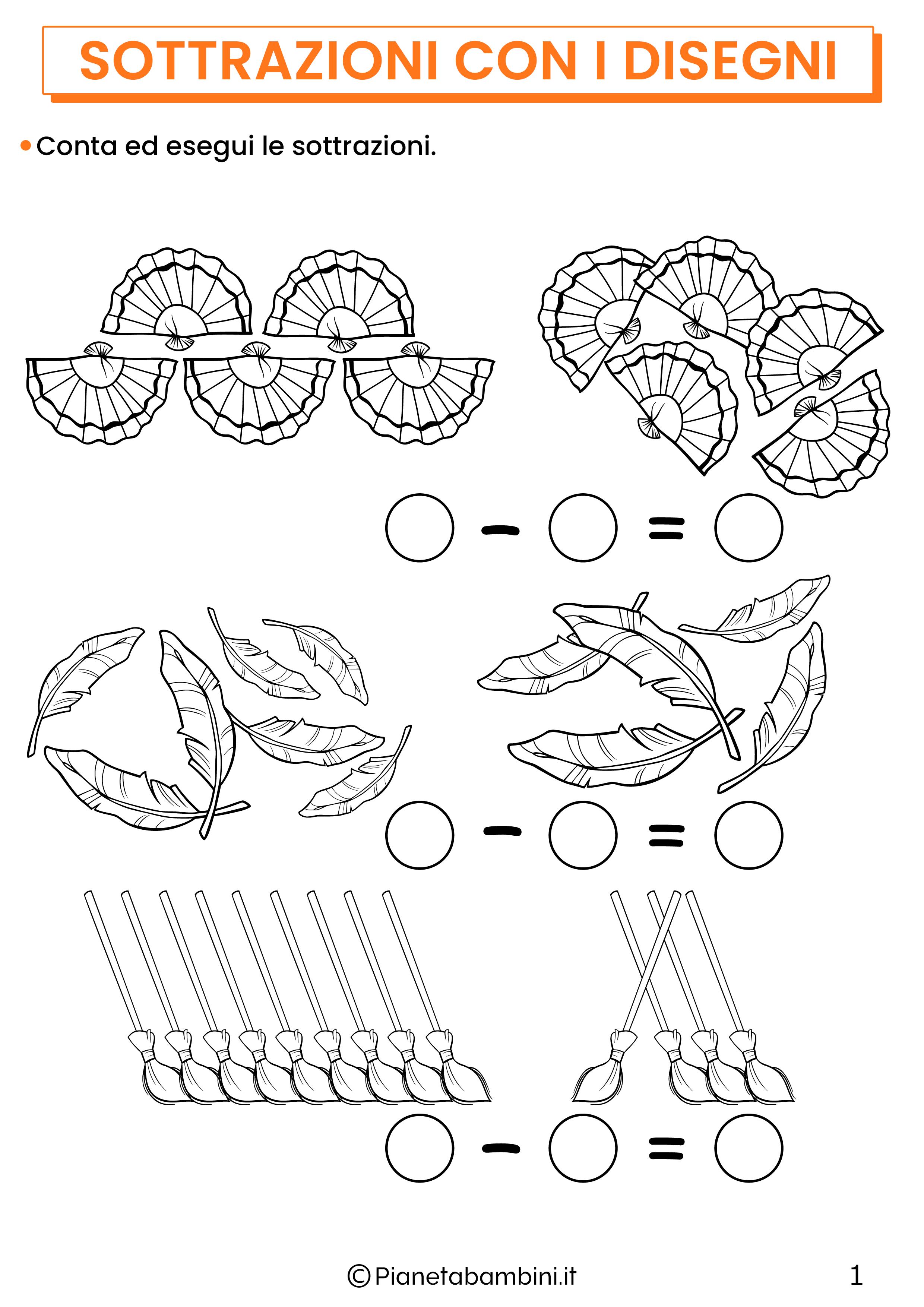 Sottrazioni con disegni per la classe prima pagina 1
