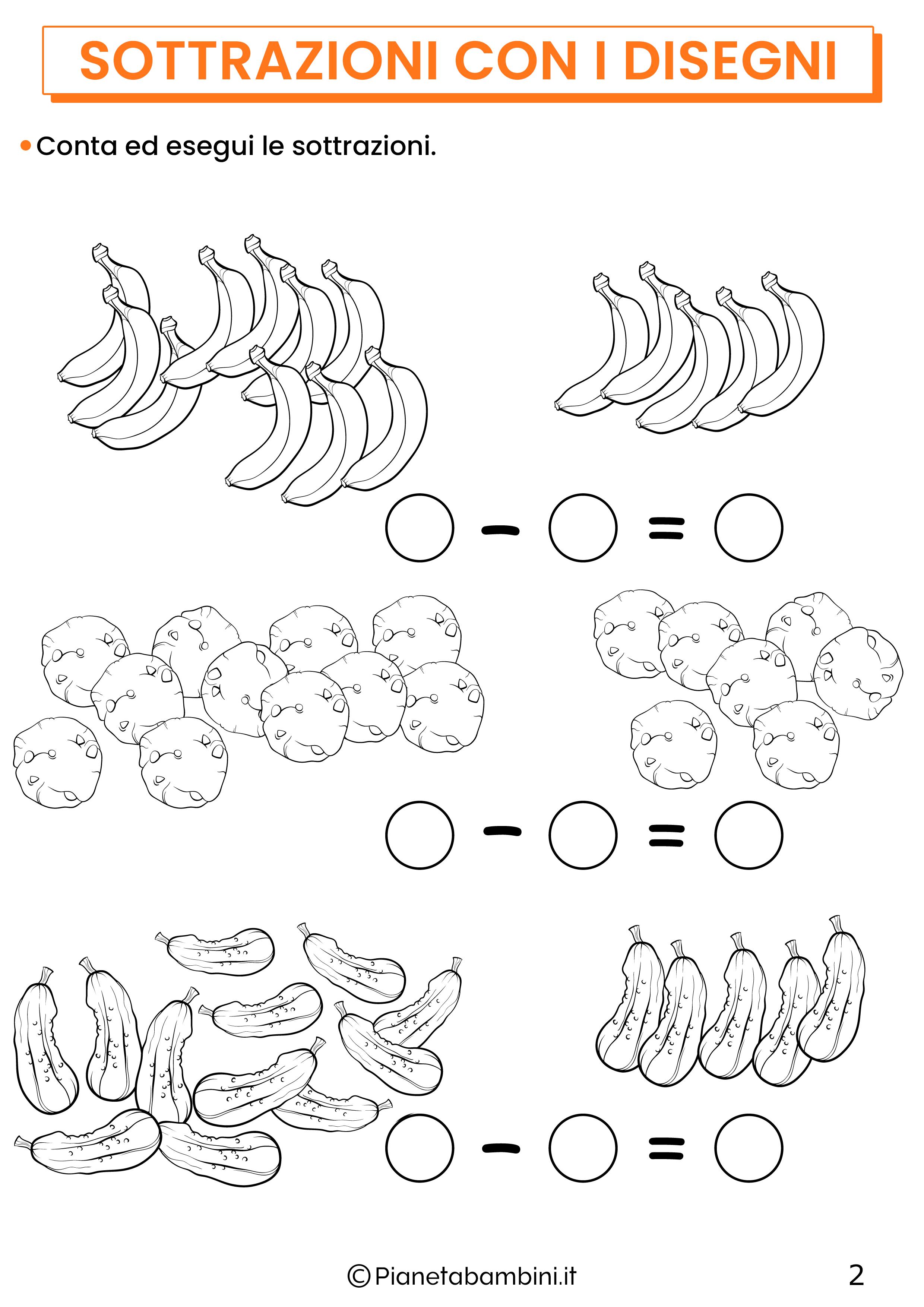 Sottrazioni con disegni per la classe prima pagina 2