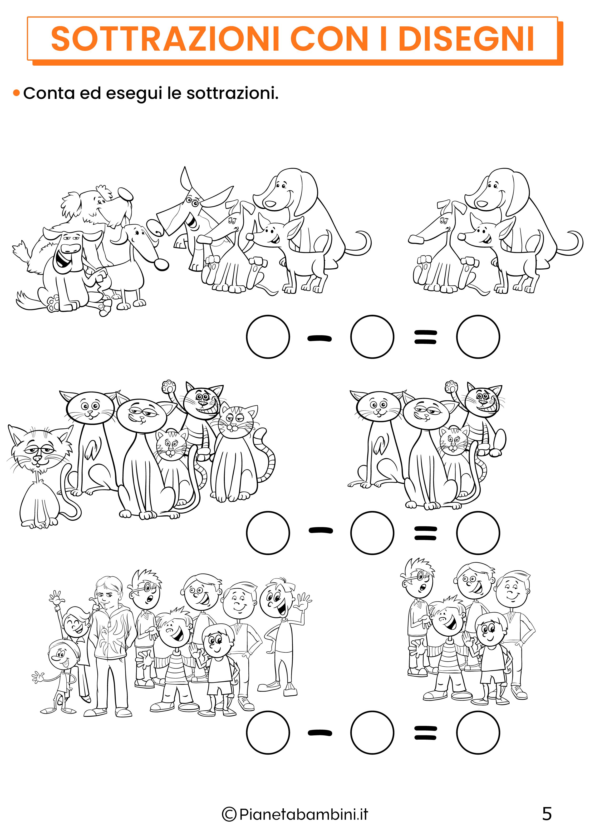Sottrazioni con disegni per la classe prima pagina 5