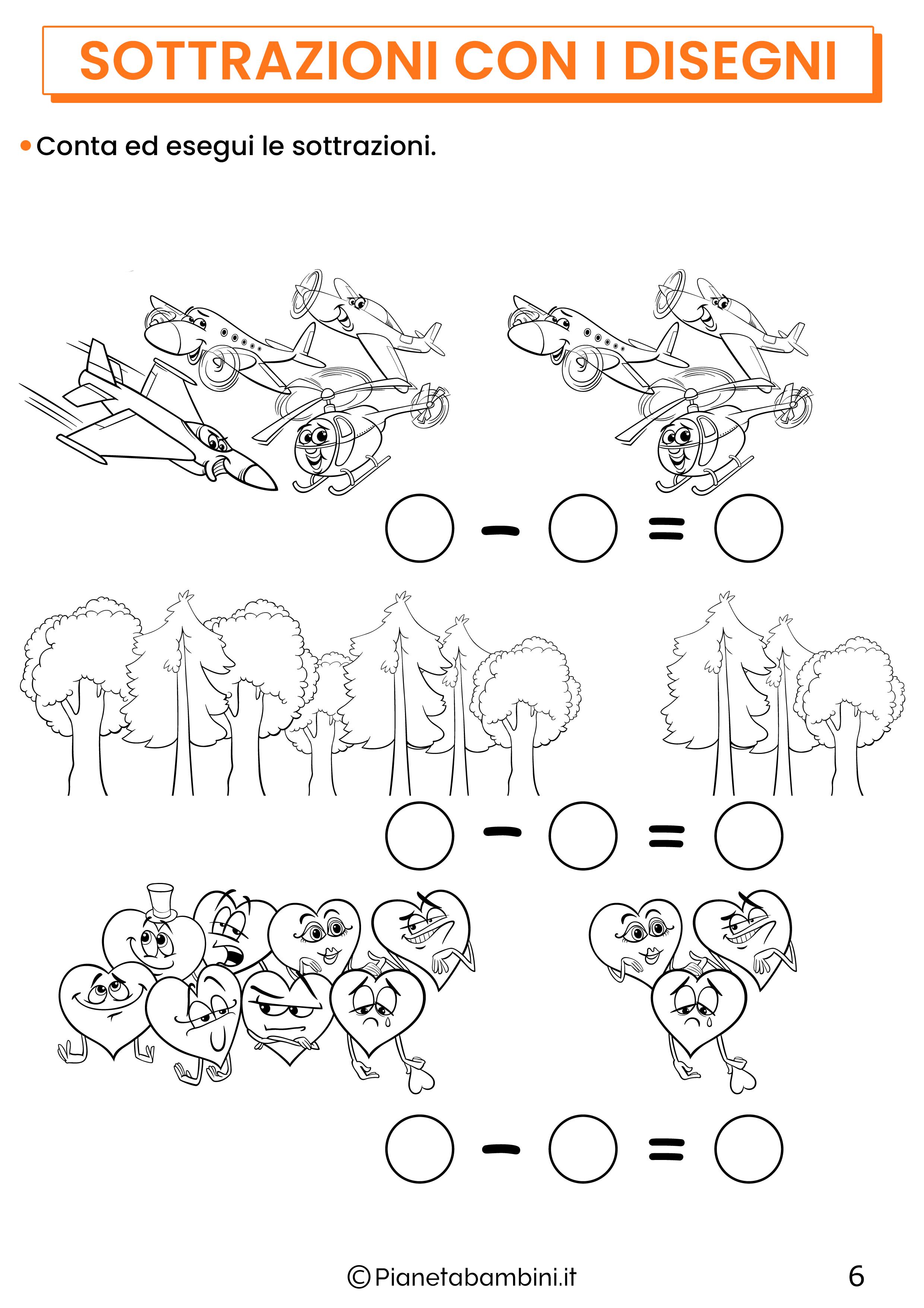 Sottrazioni con disegni per la classe prima pagina 6