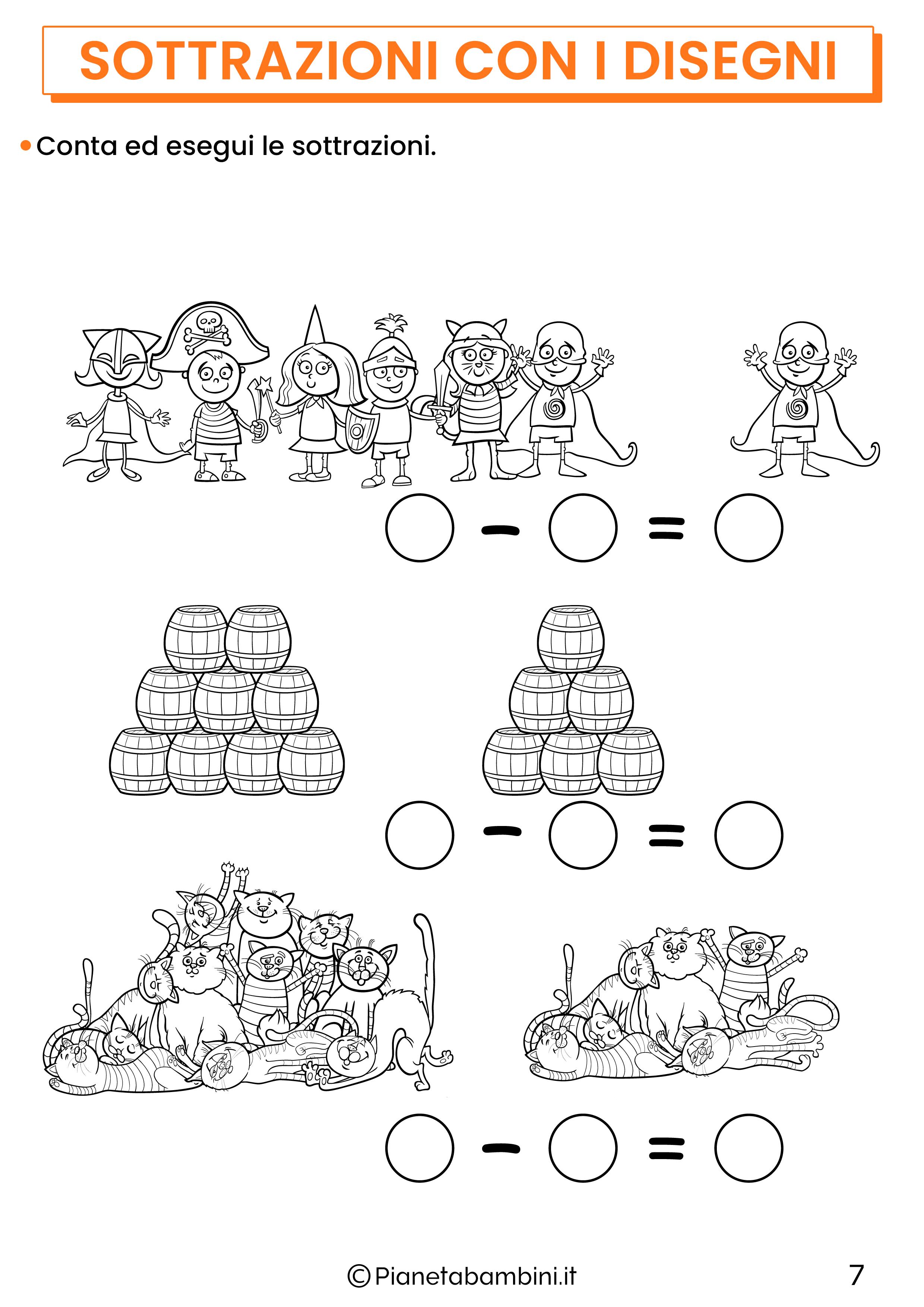 Sottrazioni con disegni per la classe prima pagina 7