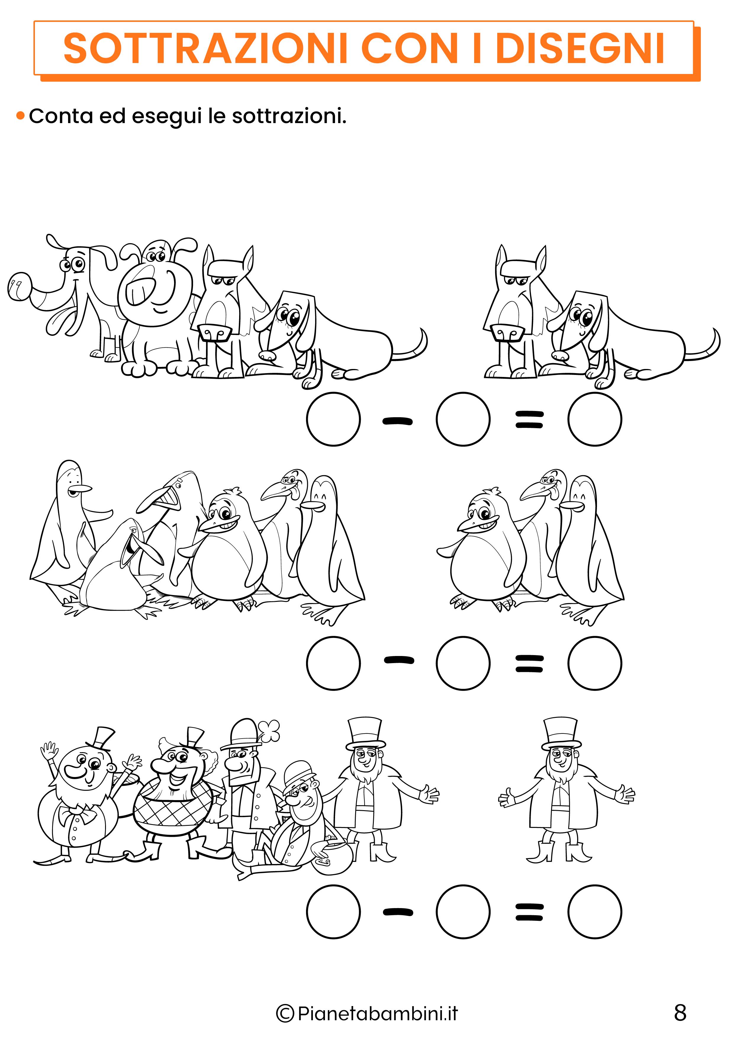 Sottrazioni con disegni per la classe prima pagina 8