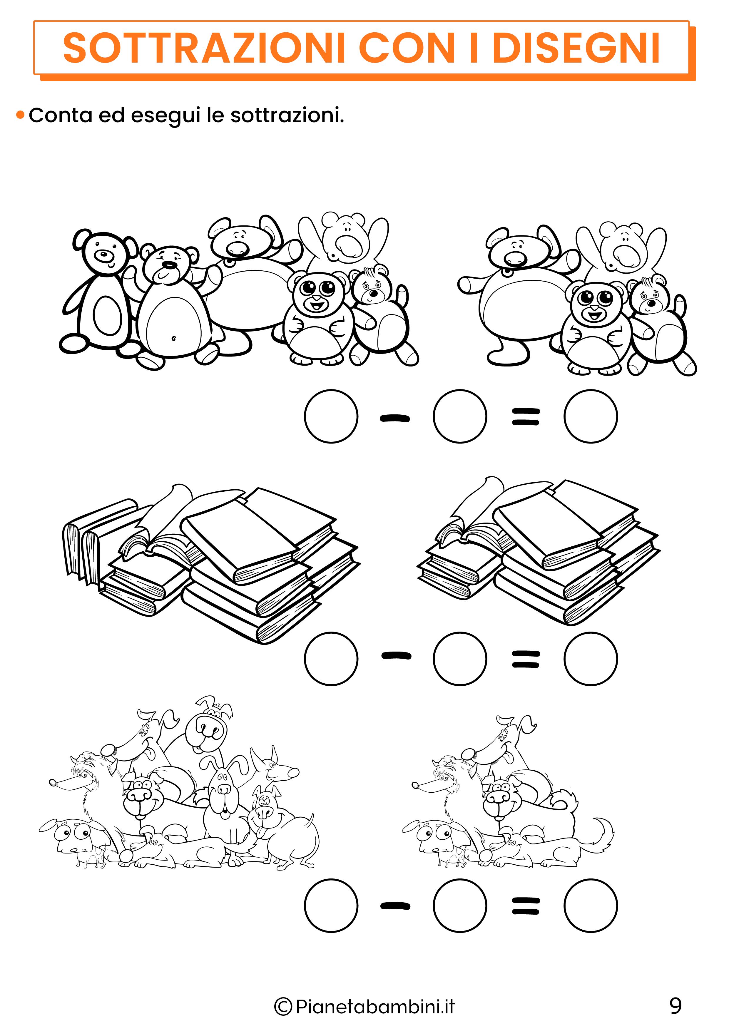 Sottrazioni con disegni per la classe prima pagina 9