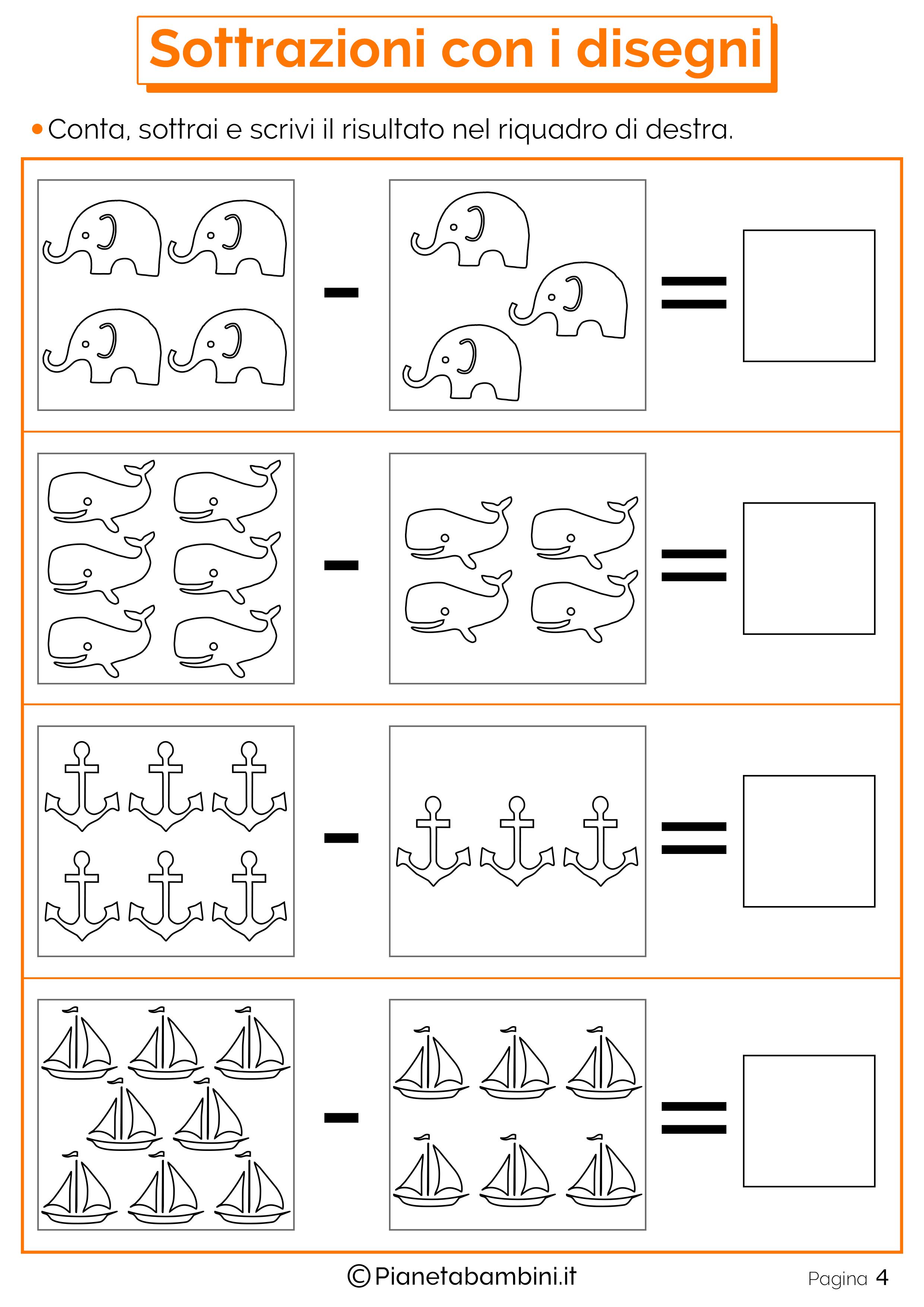 Addizioni e Sottrazioni con Disegni per Bambini ...