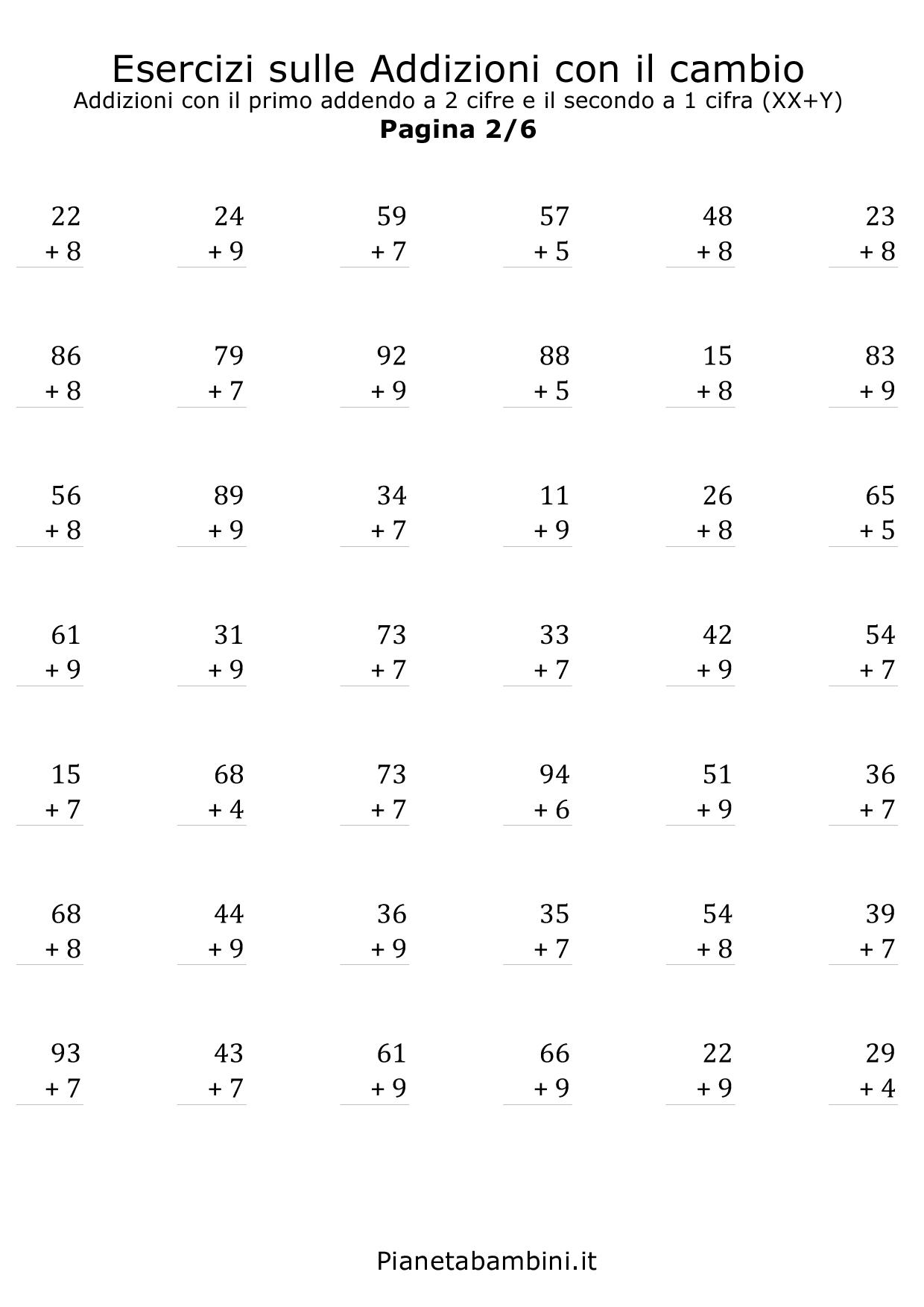 Famoso Esercizi sulle Addizioni con il Cambio a 2 e 3 Cifre  YH99