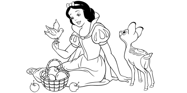 Disegni di Biancaneve da colorare