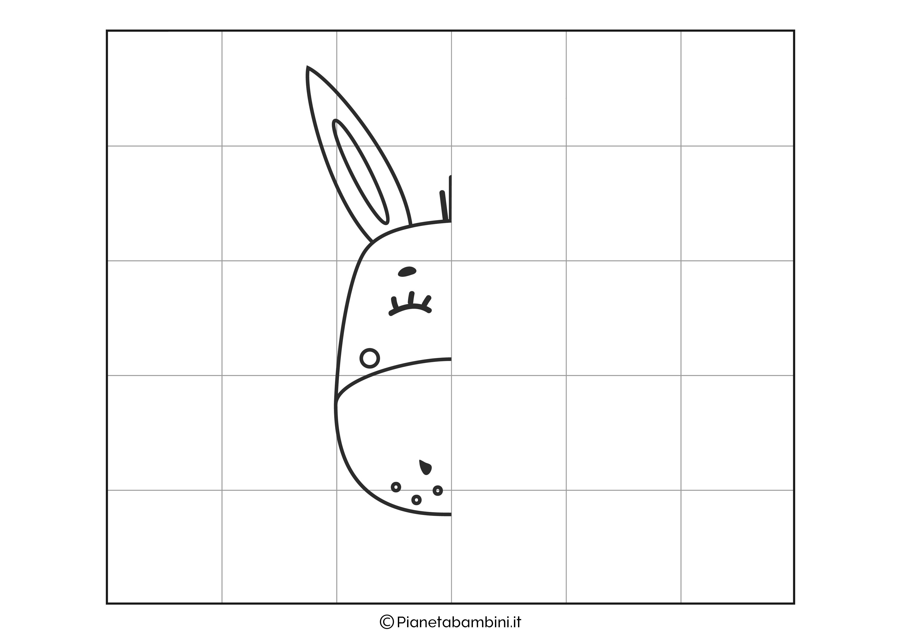Disegno simmetrico sull'asino da completare