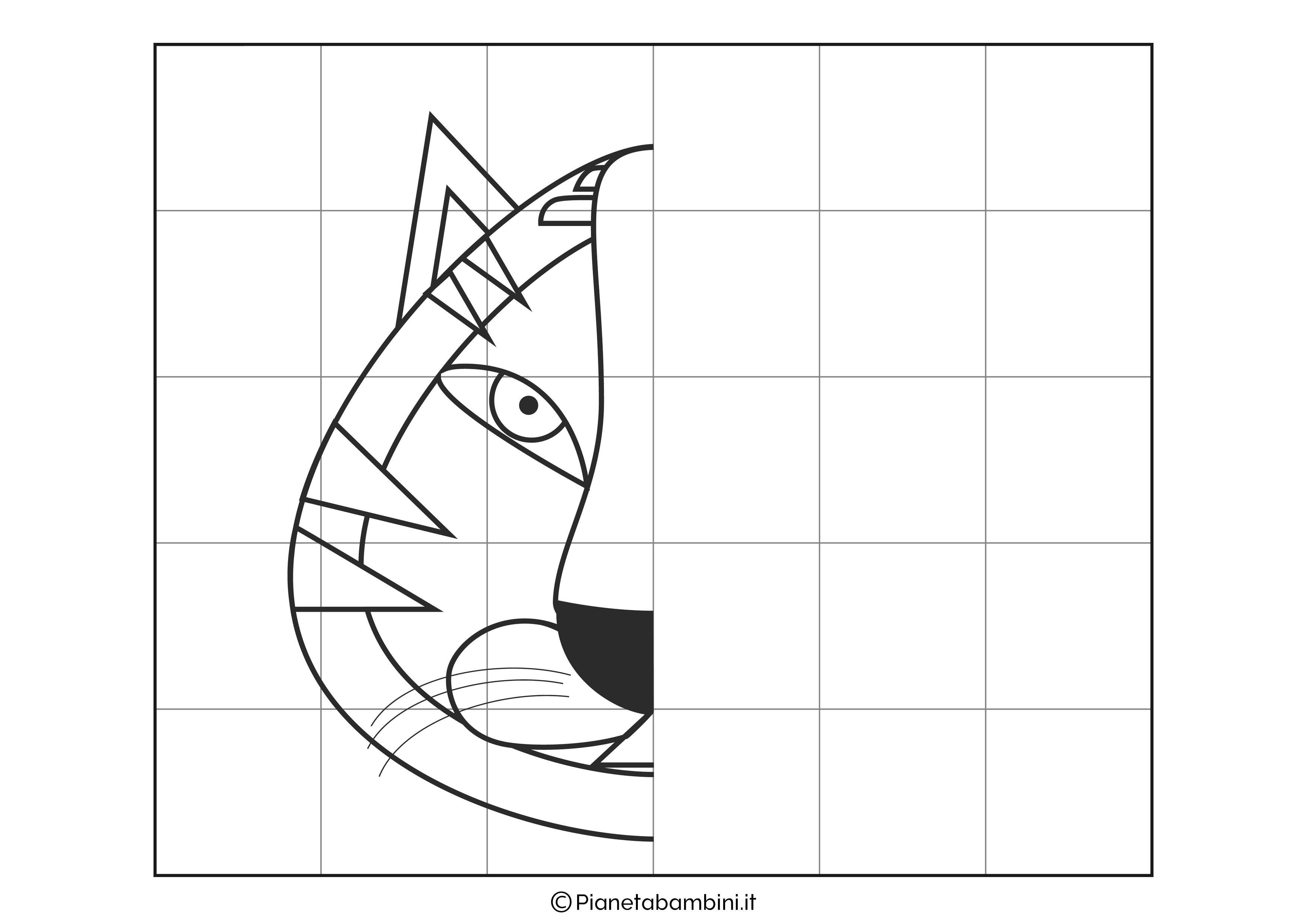 Disegno simmetrico sulla tigre da completare
