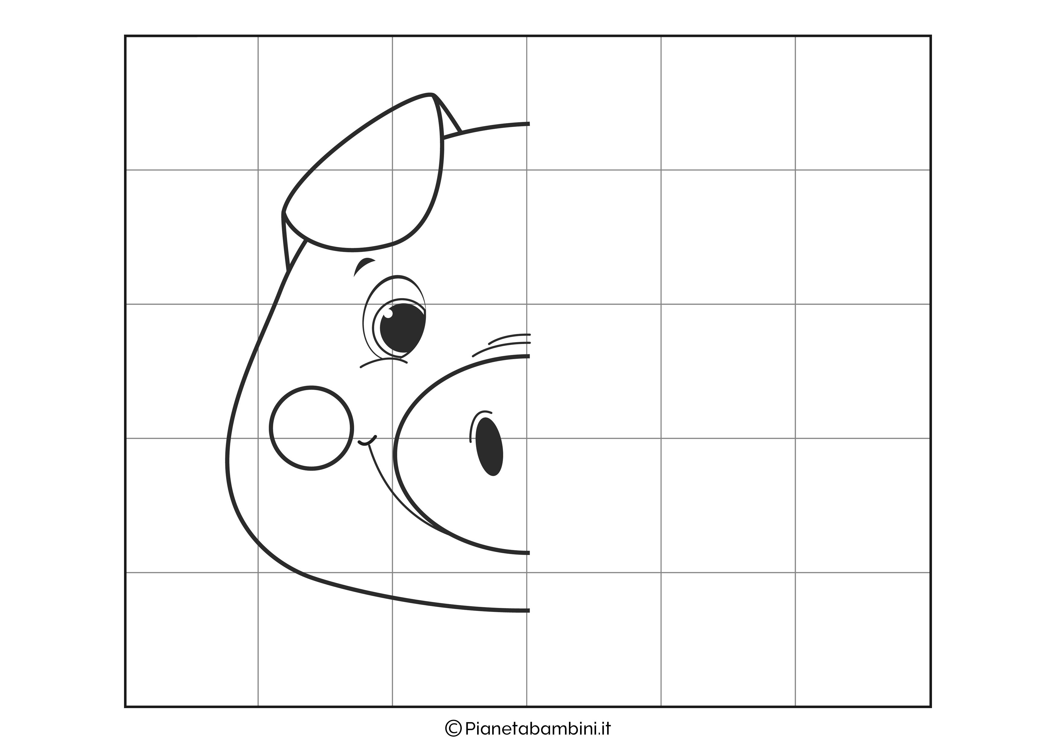 Disegno simmetrico sul maiale da completare
