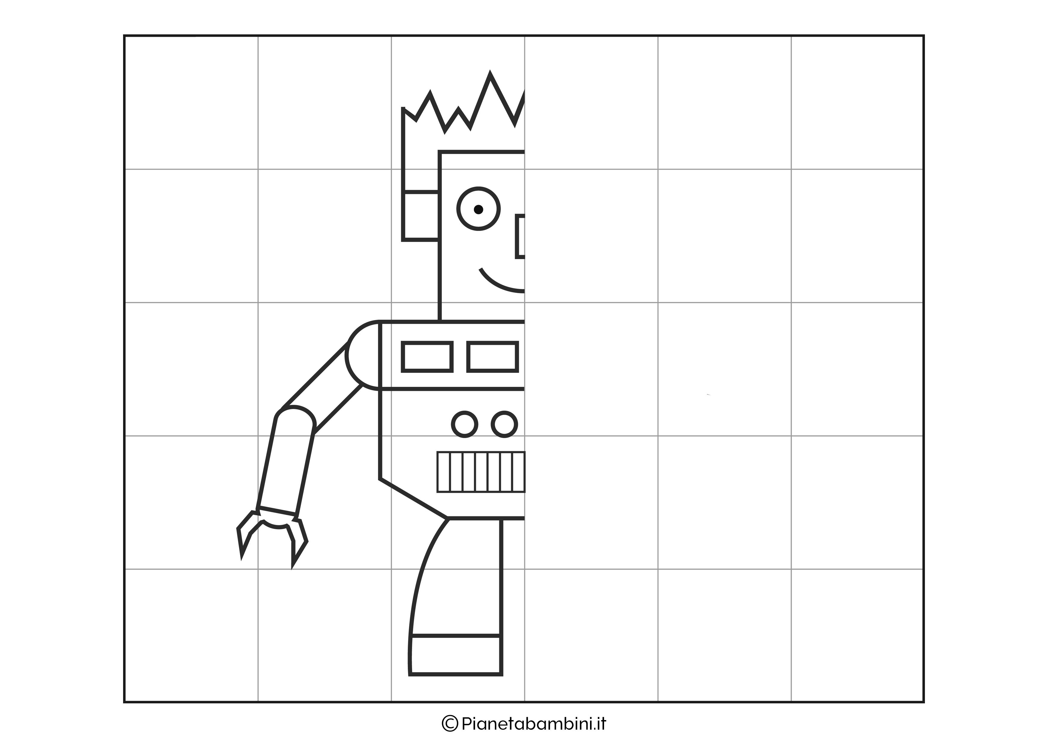 Disegno simmetrico sul robot 1 da completare