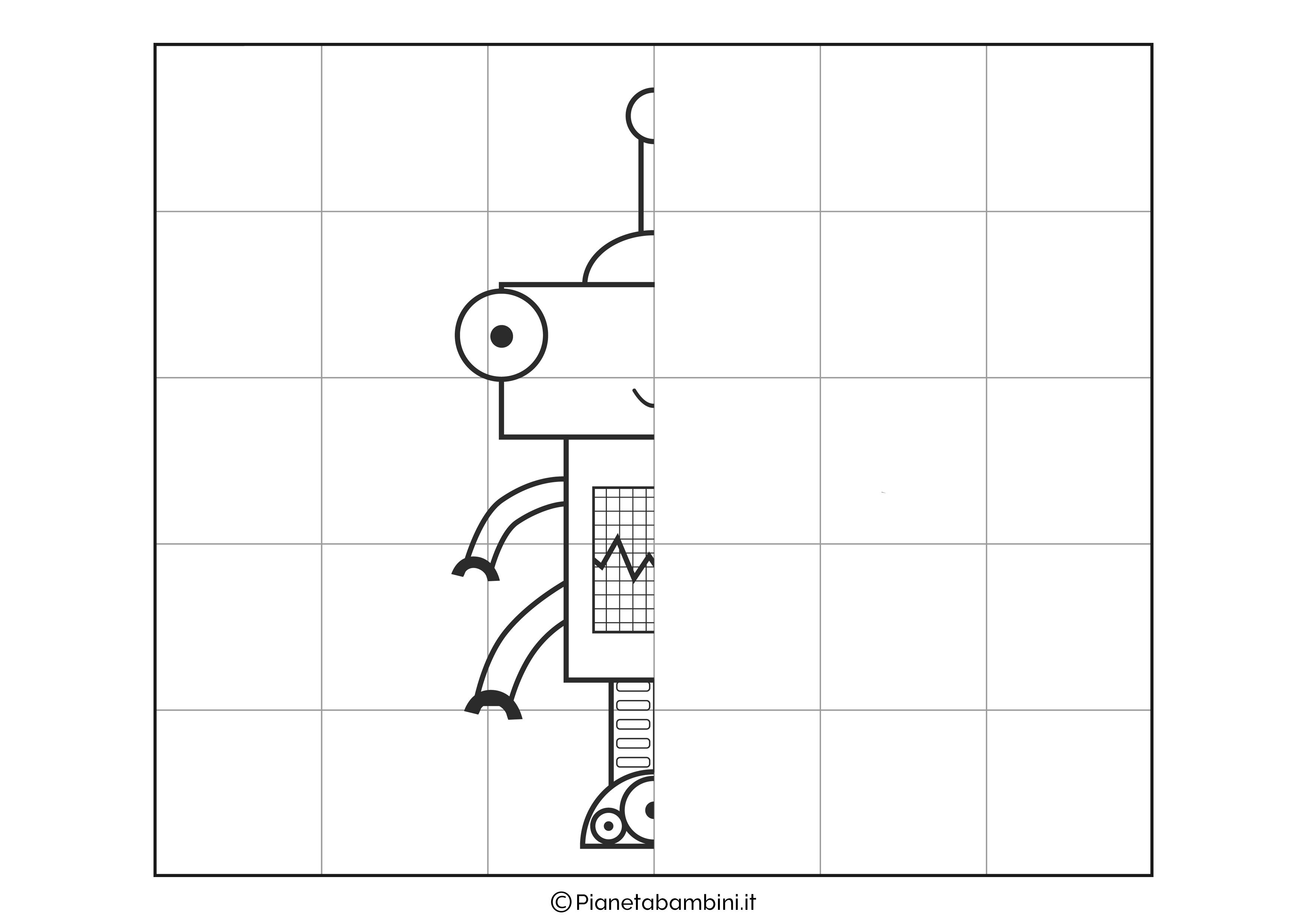 Disegno simmetrico sul robot 3 da completare