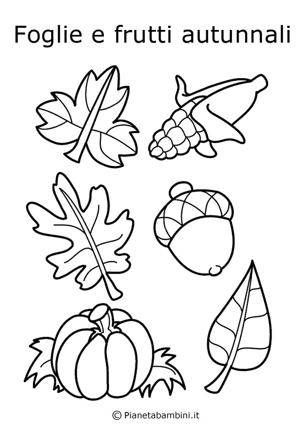 disegni di frutta e foglie autunnali da colorare