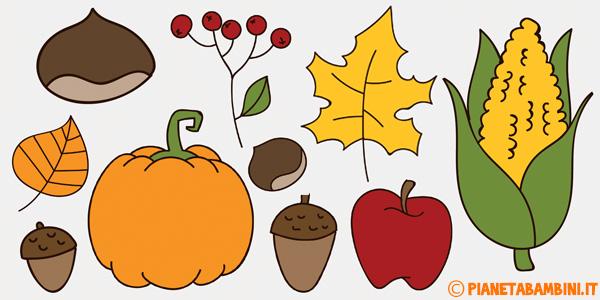 Disegni di frutta e foglie autunnali da stampate gratis e colorare